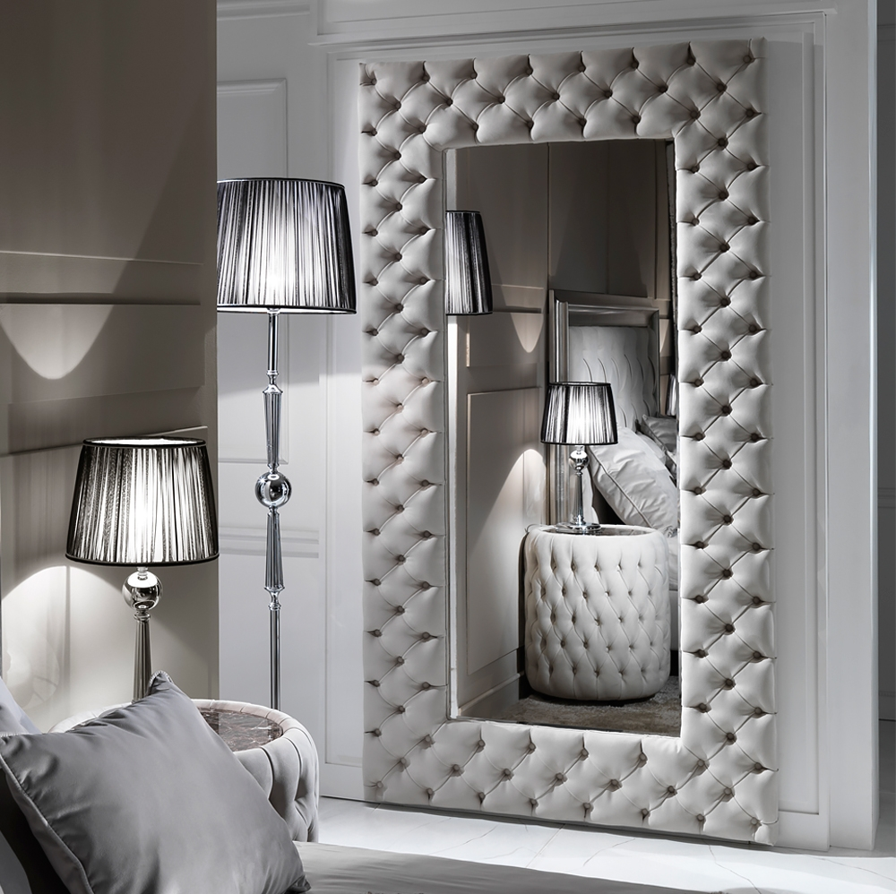 Large Modern Button Upholstered Nubuck Leather Wall Mirror Intended For Large Leather Mirror (Image 10 of 15)