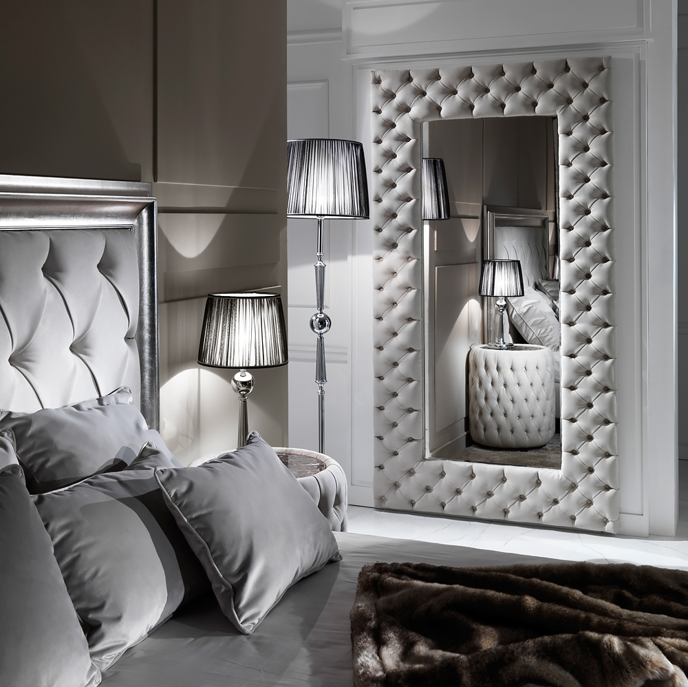 Large Modern Button Upholstered Nubuck Leather Wall Mirror Regarding Black Leather Framed Mirror (Image 6 of 15)