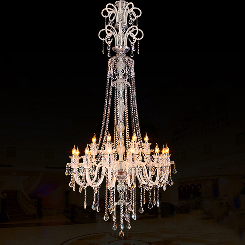Large Modern Chandelier Effects Of Real Candles In A Crystal Intended For Large Modern Chandeliers (Image 8 of 15)