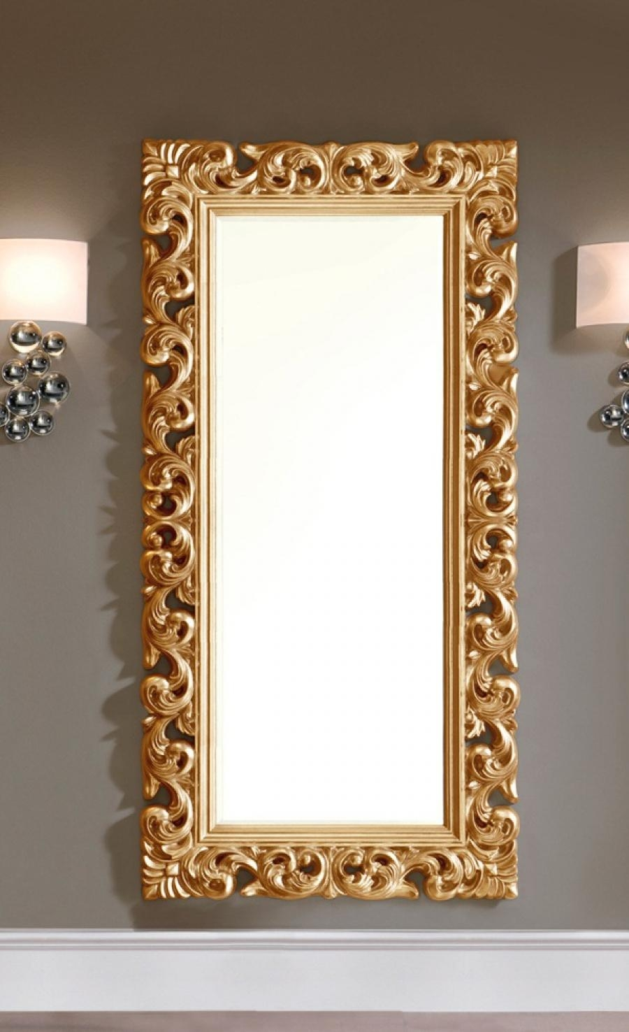 Large Modern Ornate Mirror In Gold Colour Finish Intended For Gold Ornate Mirror (Image 8 of 15)