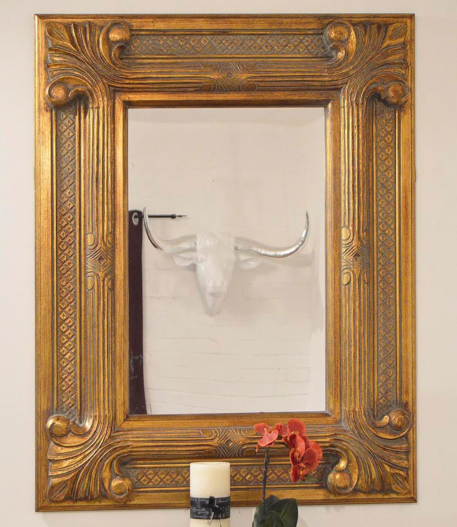Large Modern Shab Chic 9 Frame Gold Regal Wall Mirror 4ft X Intended For Shabby Chic Gold Mirror (Image 10 of 15)