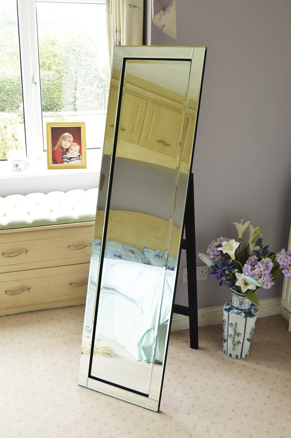 Large Modern Venetian Cheval Free Standing Mirror 5ft X 1ft3 150 With Regard To Free Standing Long Mirror (Image 11 of 15)