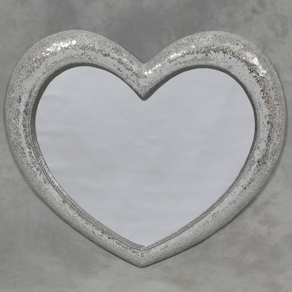 Large Mosaic Glass Heart Mirror Large Mirror Sparkly Crackle Wall Throughout Large Heart Mirror (Image 10 of 15)