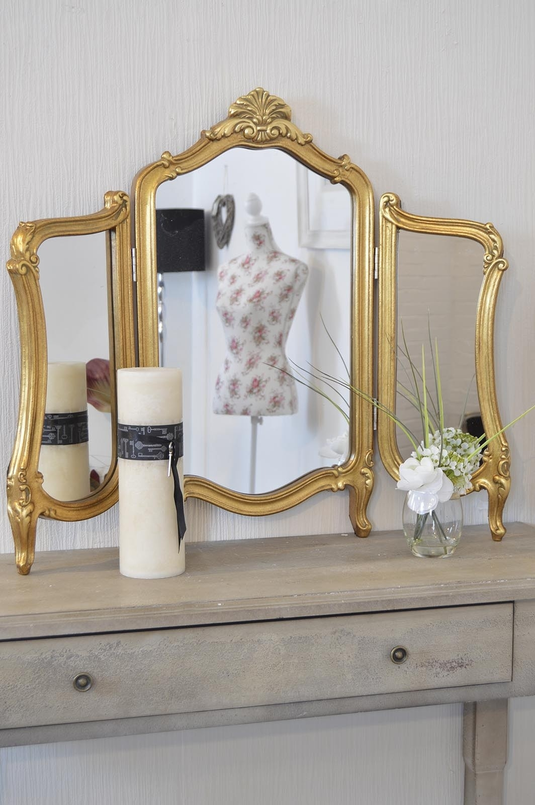 Large New Stunning Antique Design Gold Dressing Table Mirror 2ft5 Pertaining To Gold Table Mirror (Image 7 of 15)