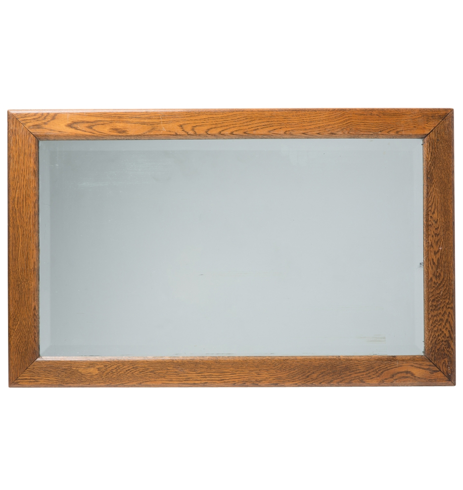Large Oak Framed Mirror W Beveled Glass Rejuvenation Regarding Large Oak Framed Mirror (Image 8 of 15)