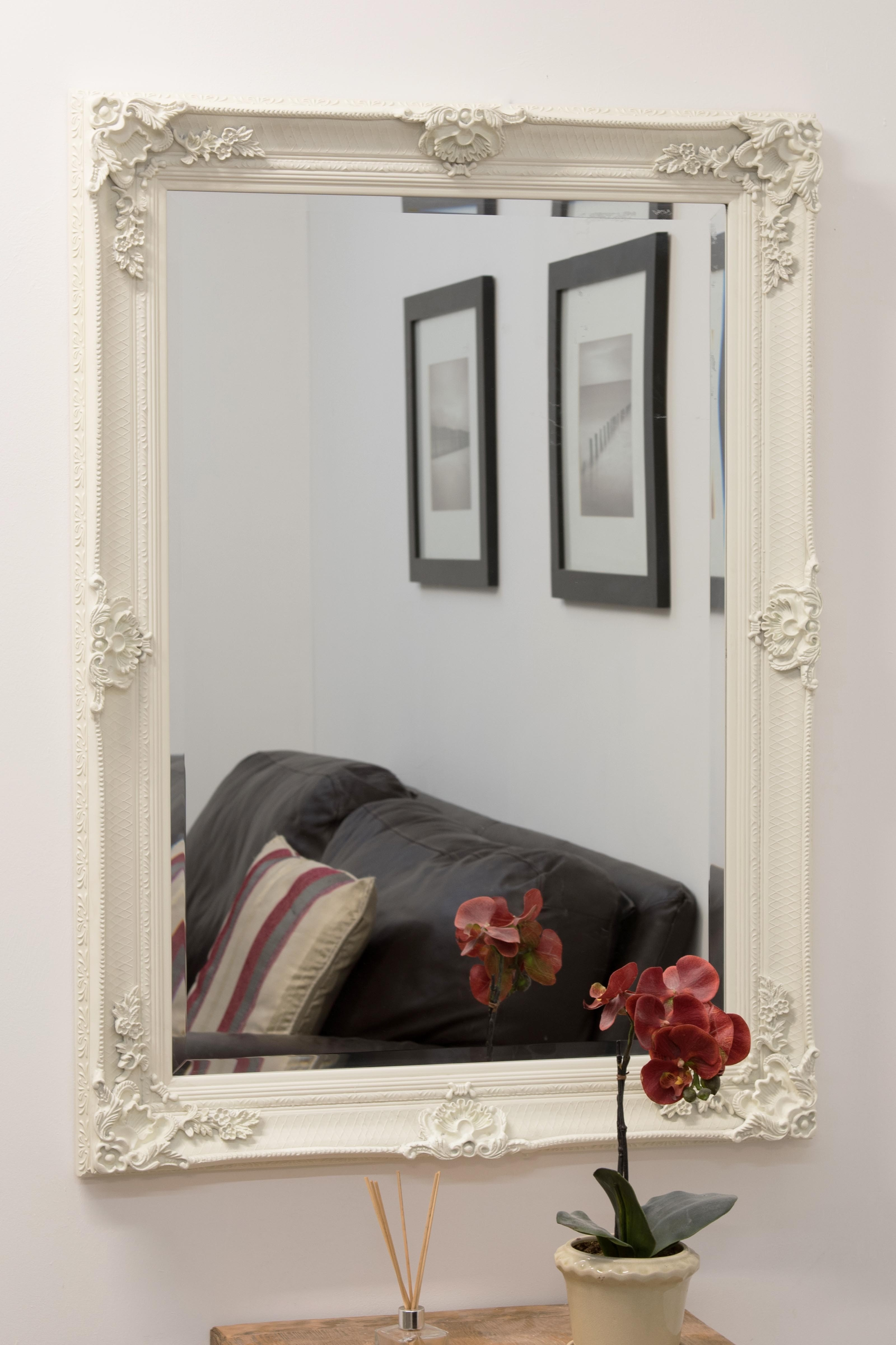 Large Off White Ornate Antique Design Big Wall Mirror 3ft8 X Inside Large White Ornate Mirror (Image 8 of 15)