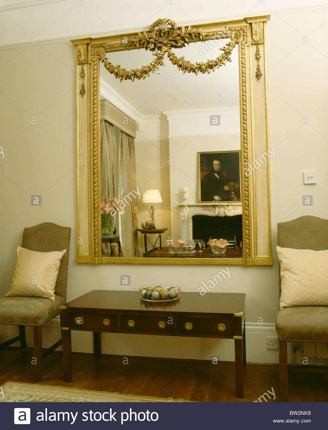 Large Ornate Gilt Antique Mirror On Wall Above Console Table In Inside Ornate Gilt Mirrors (Image 11 of 15)