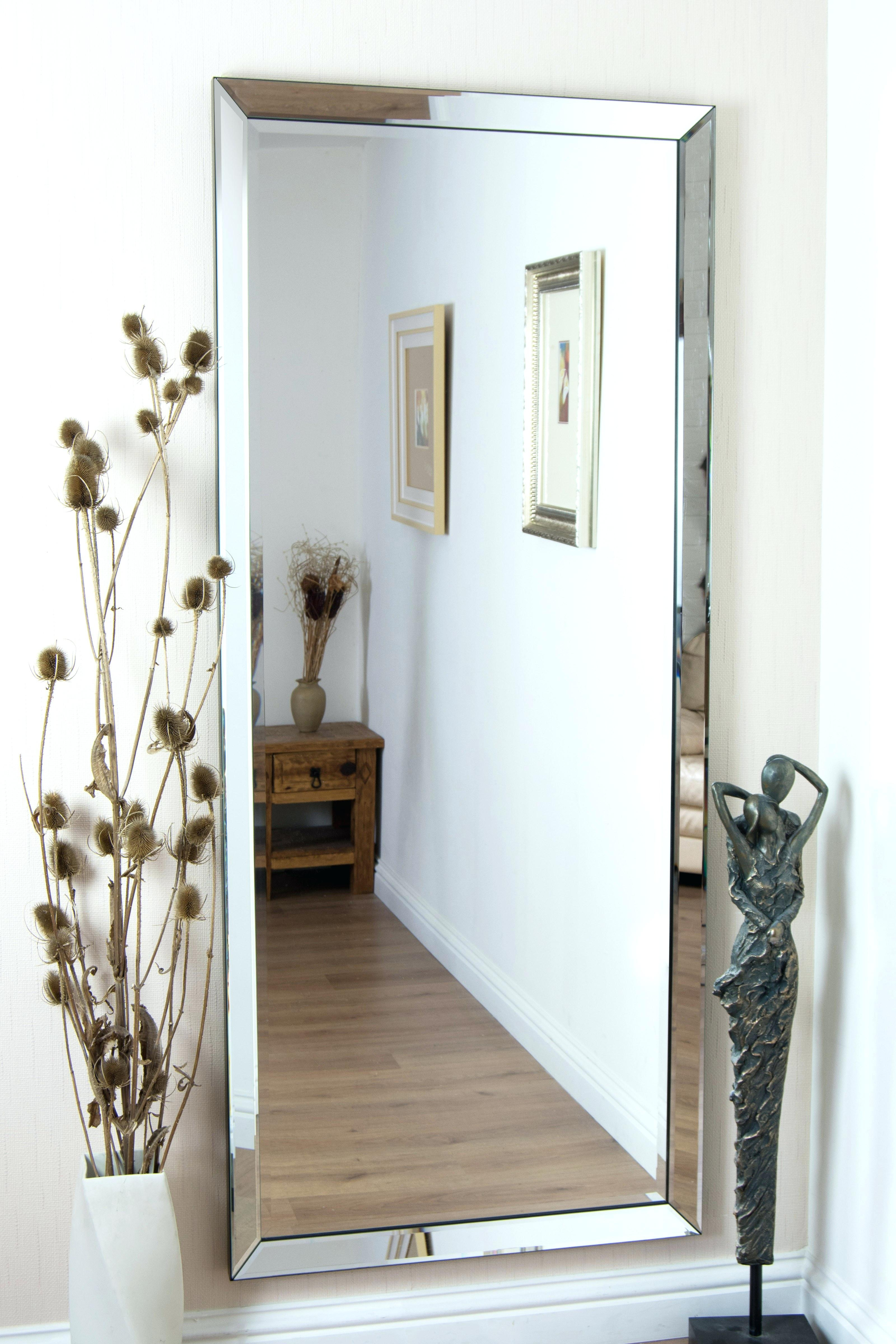 Large Ornate Mirror In Silver Colour Finishvery Contemporary Regarding Large Contemporary Mirror (Image 11 of 15)