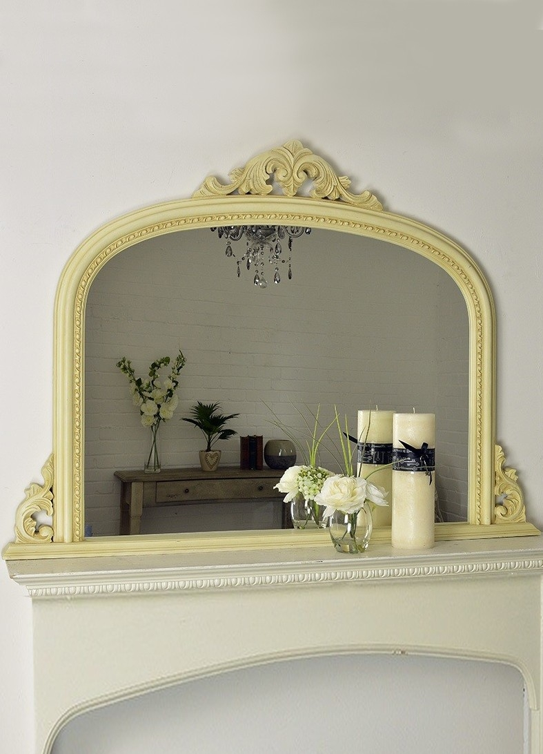 Large Ornate Shab Chic Ivorycream Overmantle Mirror 4ft2 X 3ft In Shabby Chic Cream Mirror (Image 5 of 15)