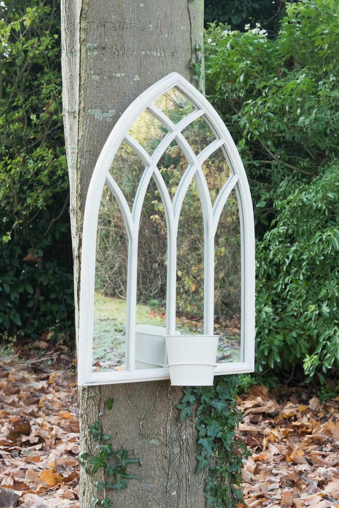 Large Outdoor Garden Mirror White Gothic Design 2ft5 X 1ft8 75cm Inside Large Outdoor Garden Mirrors (Image 7 of 15)