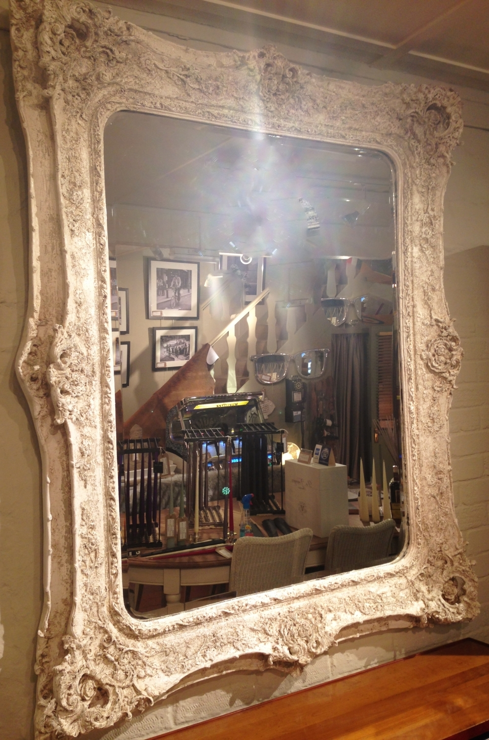 Large Painted Ornate Mirror In Vintage Vintage Style Intended For Ornate Large Mirror (Image 11 of 15)