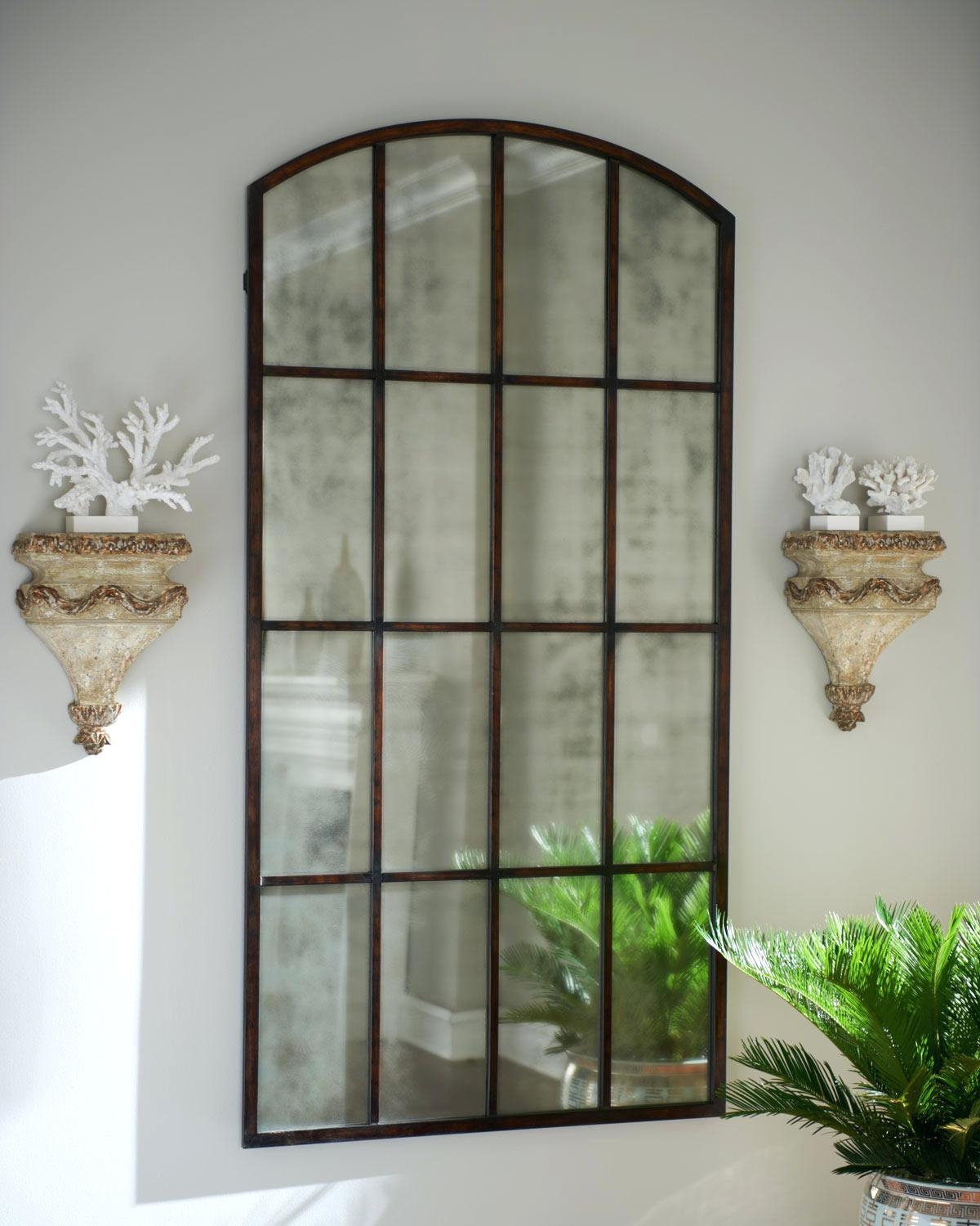 Large Panel Wall Mirrors Arched Window Pane Mirror Shopwiz With Large Arched Mirror (Image 11 of 15)