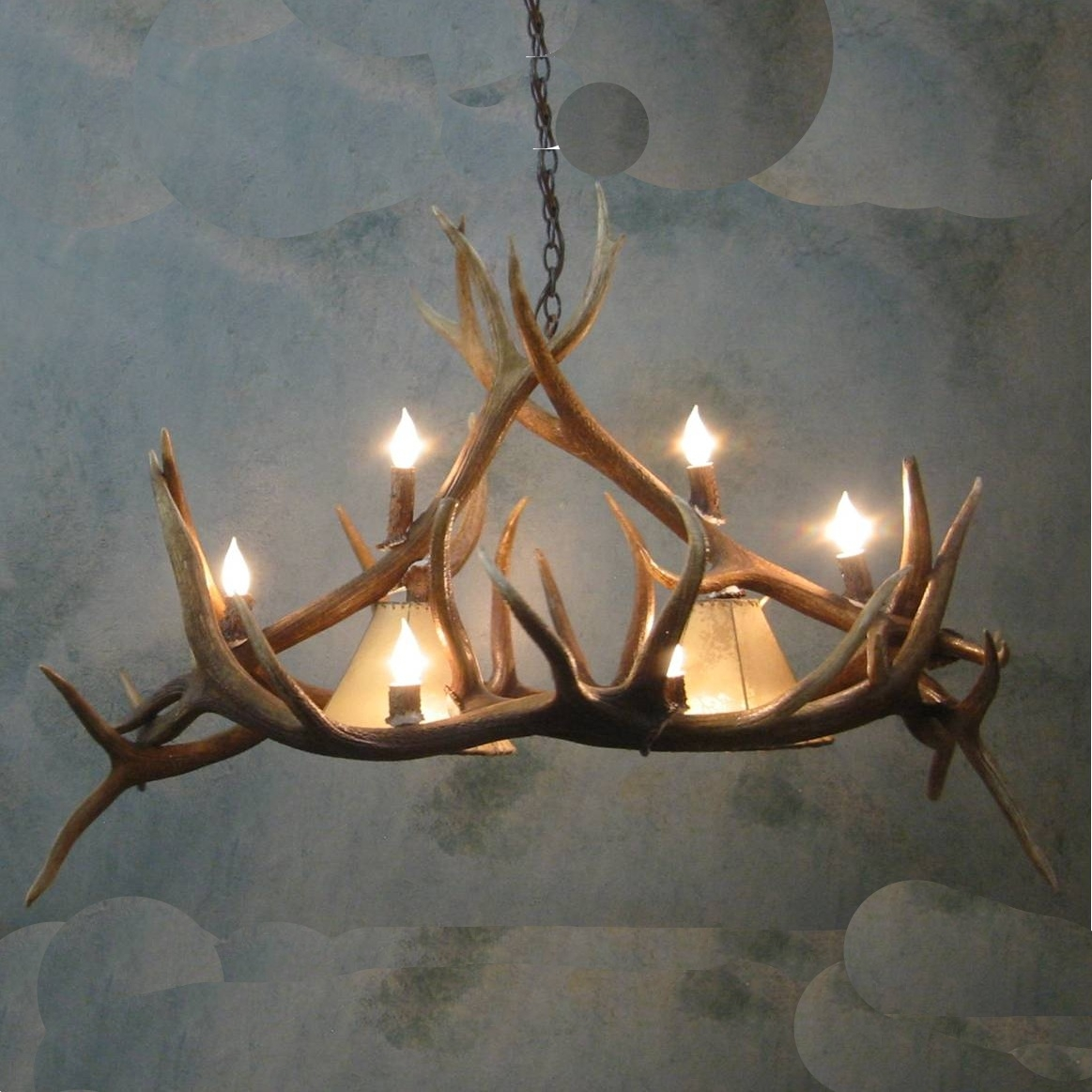 Large Pool Table Elk Antler Chandelier Within Large Antler Chandelier (Image 8 of 15)