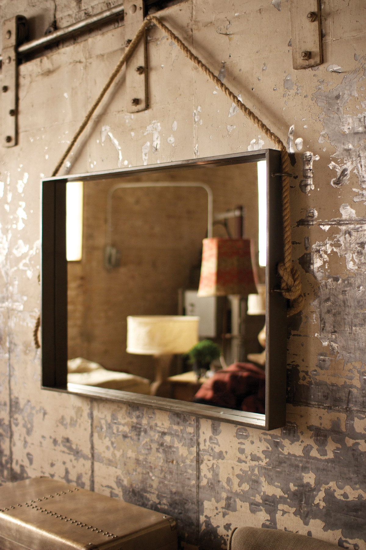 Large Rectangle Metal Mirror With Rope Hanger Mirrors Intended For Large Metal Mirror (Image 10 of 15)