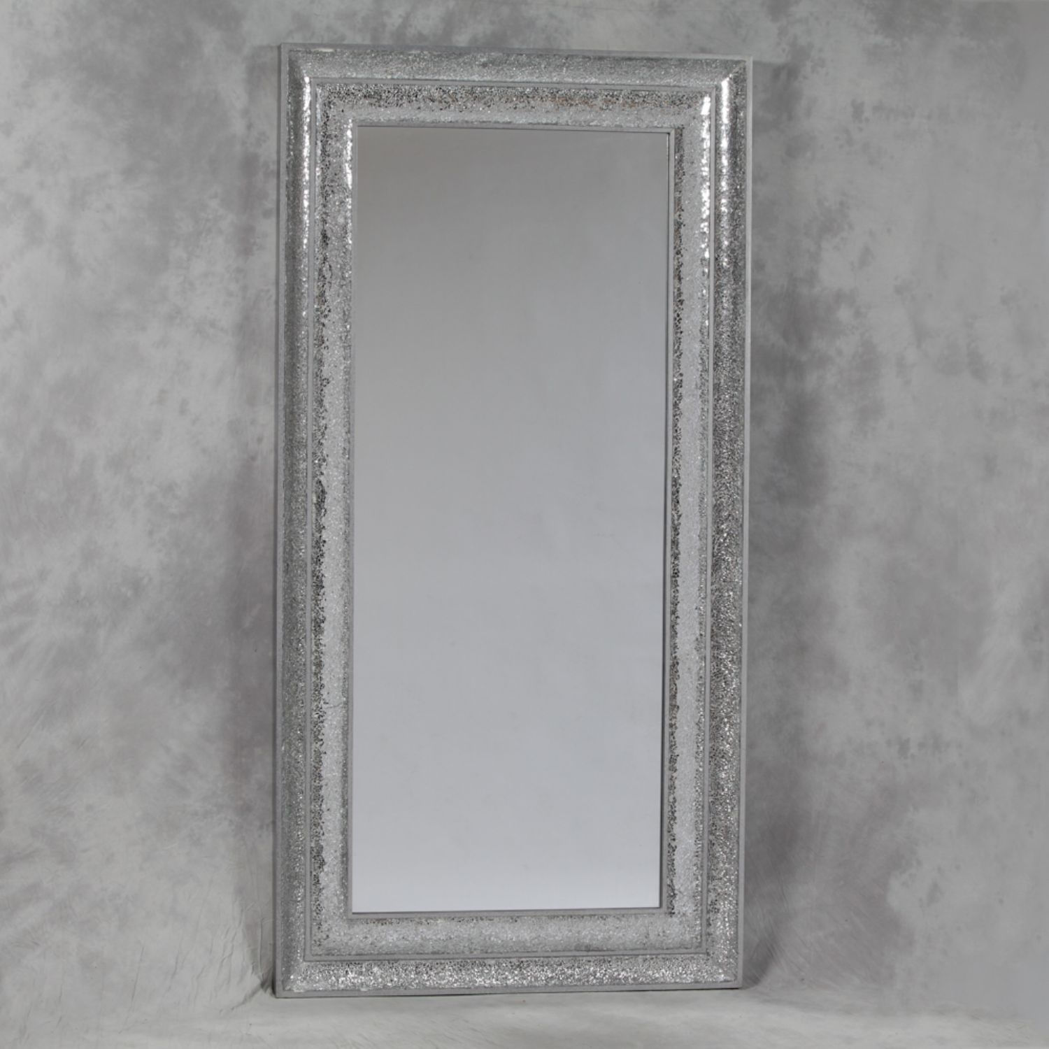 Large Rectangular Silver Crushed Glass Mosaic Mirror Throughout Full Length Silver Mirror (Image 11 of 15)