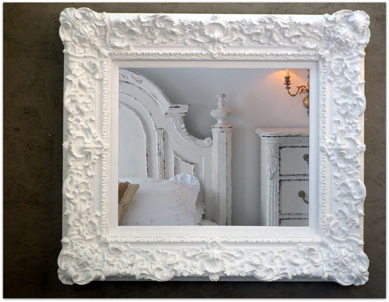 Large Rococo White Mirror Huge Baroque Wedding Nursery Frame Regarding Large White Rococo Mirror (Image 7 of 15)