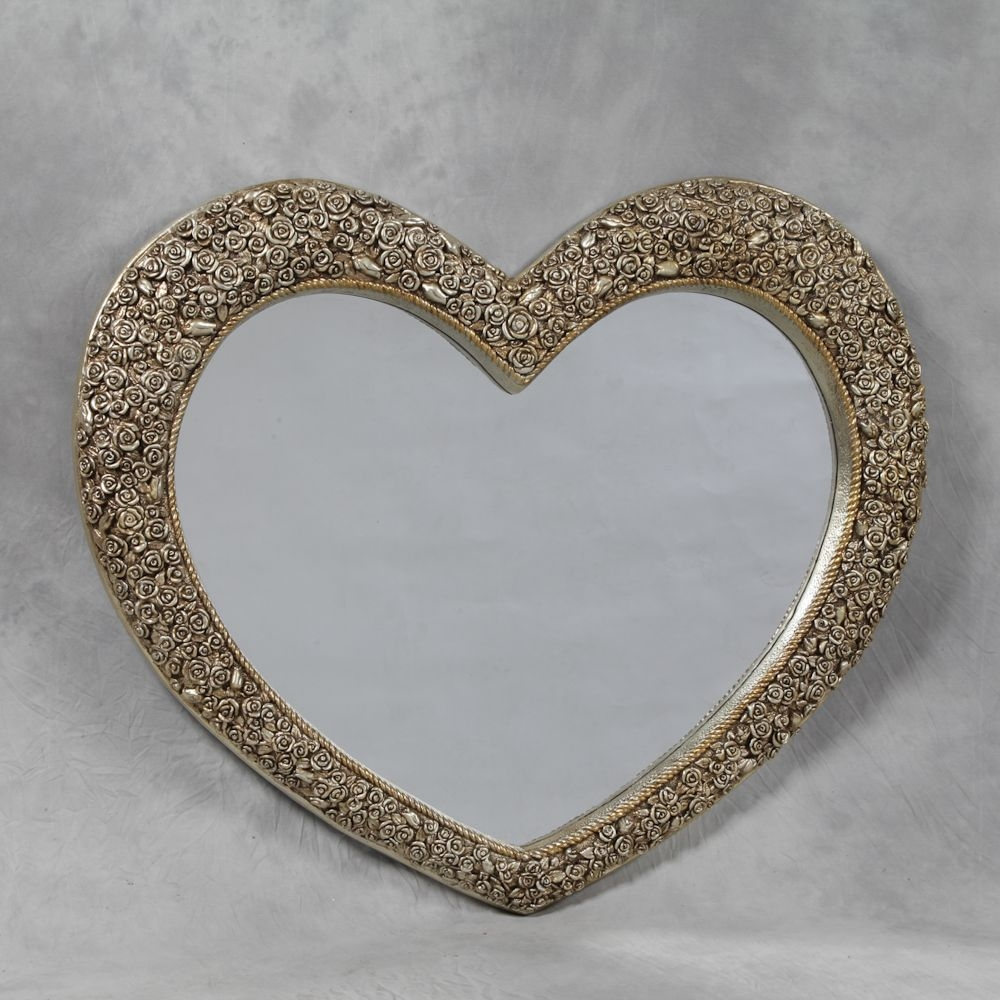 Large Rose Frame Heart Wall Mirror With Regard To Large Heart Mirror (Image 11 of 15)