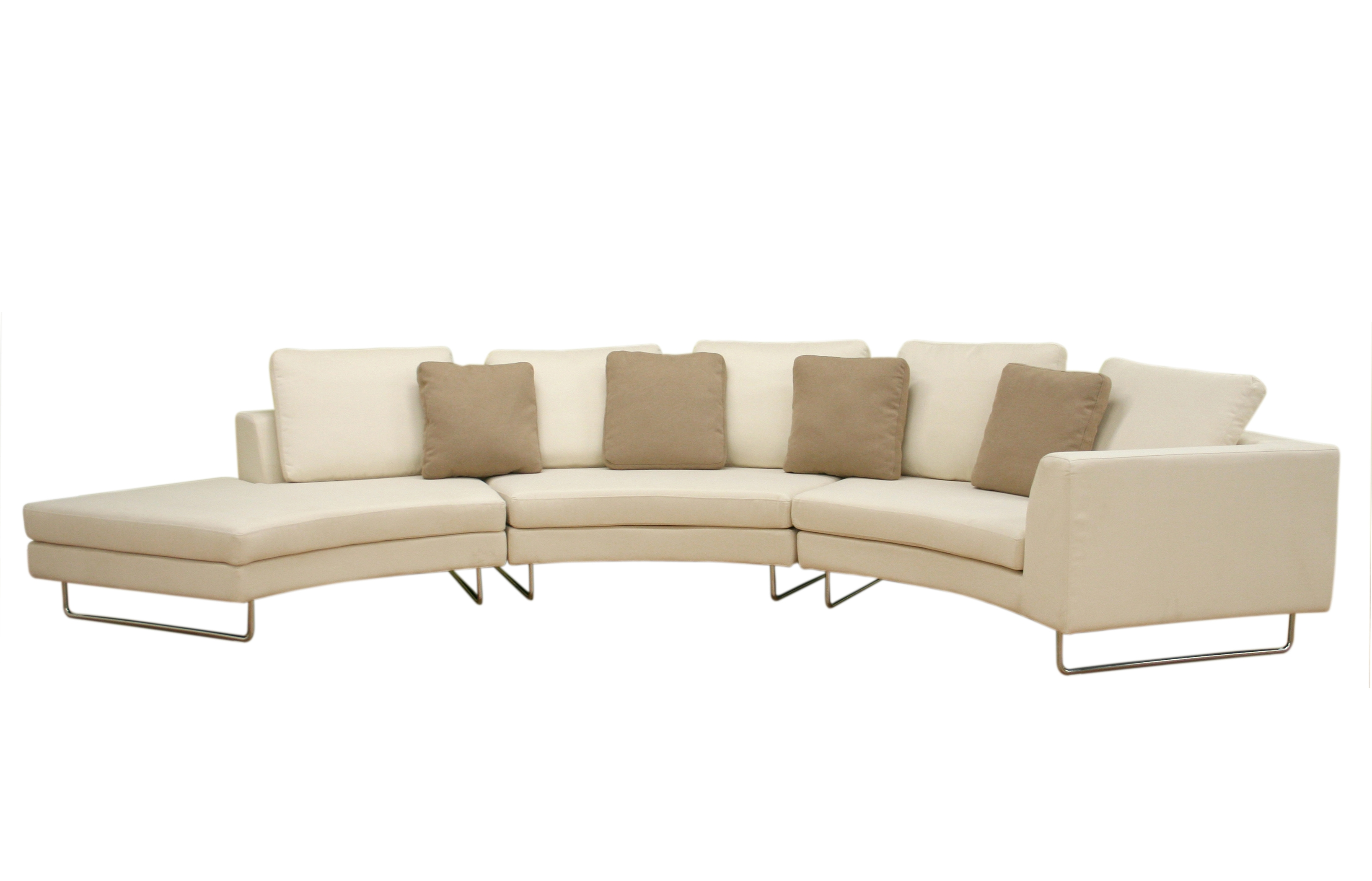 Large Round Curved Sofa Sectional Baxton Studio Lilia Curved 3 Within Contemporary Curved Sofas (Image 10 of 15)