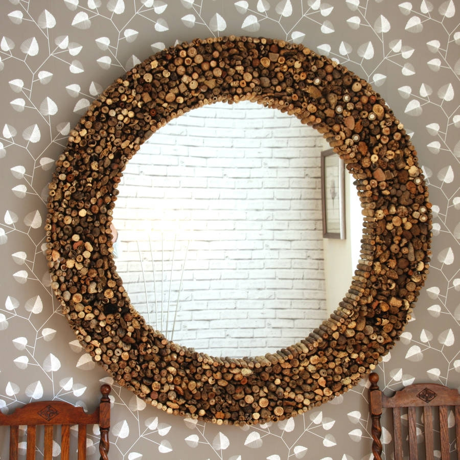 Large Round Driftwood Mirror Decorative Mirrors Online In Large Mirrors Online (Image 13 of 15)