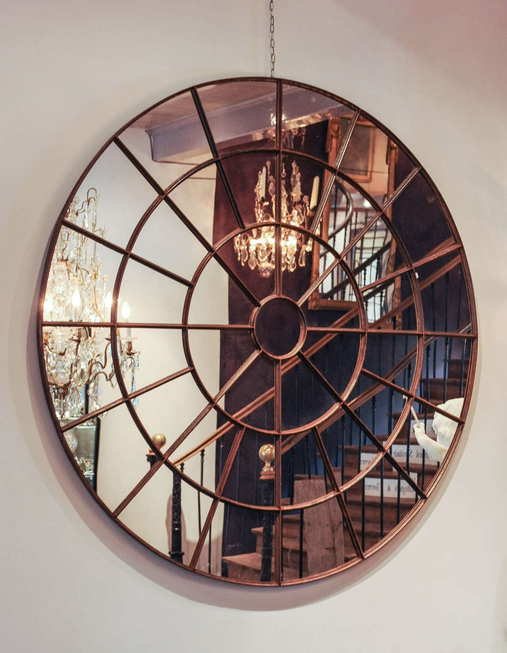 Large Round Mirror Made Of An Early 20th Century Cast Iron Window Regarding Large Circle Mirrors (View 9 of 15)
