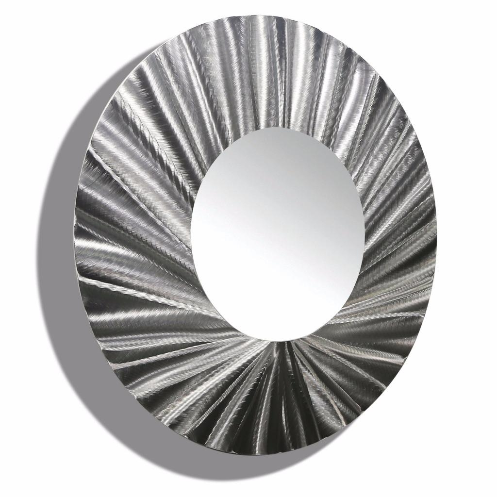 Large Round Silver Metal Mirror Wall Art Accent Metallic Hanging With Round Silver Mirrors (Image 6 of 15)