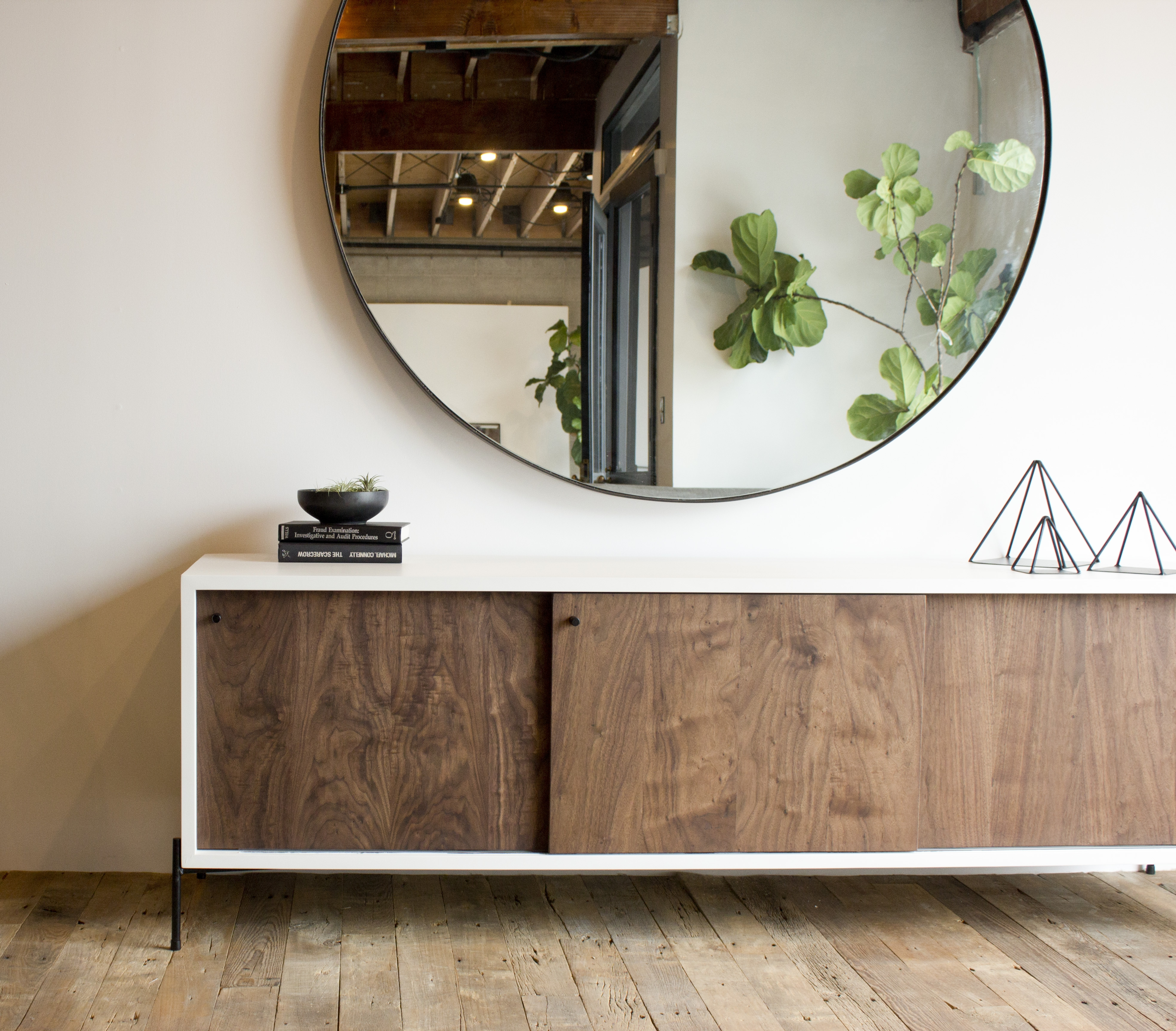 Large Round Steel Mirror Walnut Credenza Pinteres With Large Round Metal Mirror (View 10 of 15)
