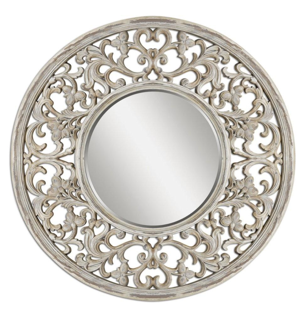 Large Round Wall Mirror Wall Shelves Intended For Large Circular Mirrors (Image 9 of 15)