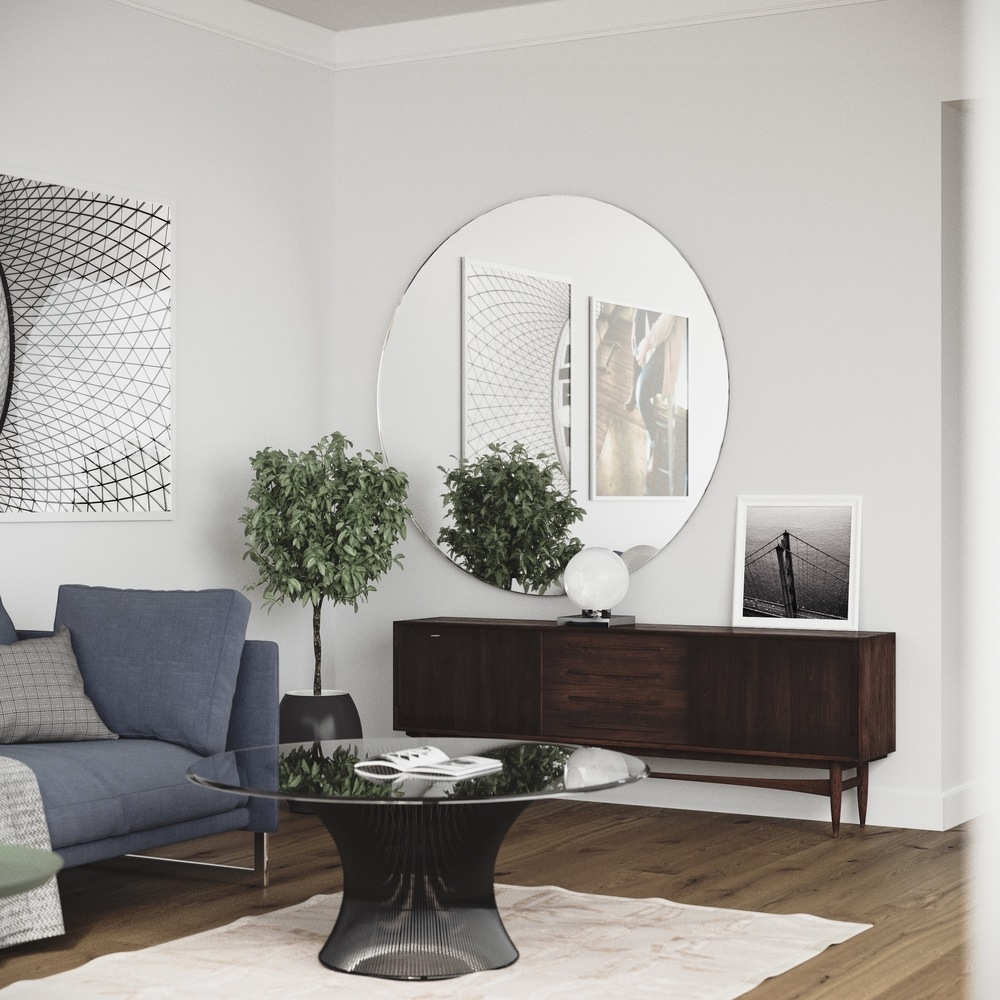 Large Round Wall Mirror Wall Shelves With Regard To Large Circle Mirrors (View 6 of 15)