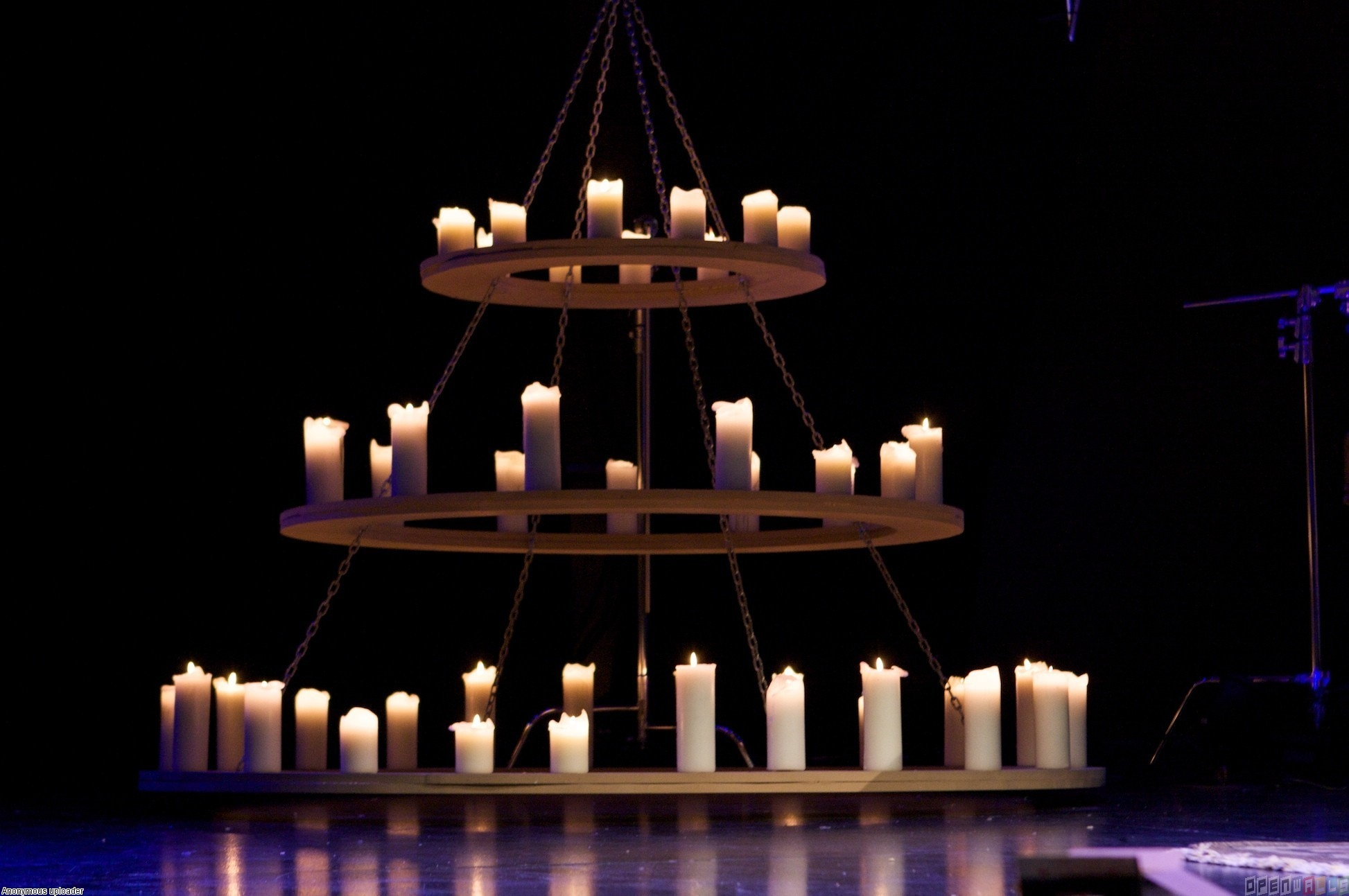 Large Round Wood And Iron Chandelier With Candles And Hanging From In Large Iron Chandeliers (Image 10 of 15)