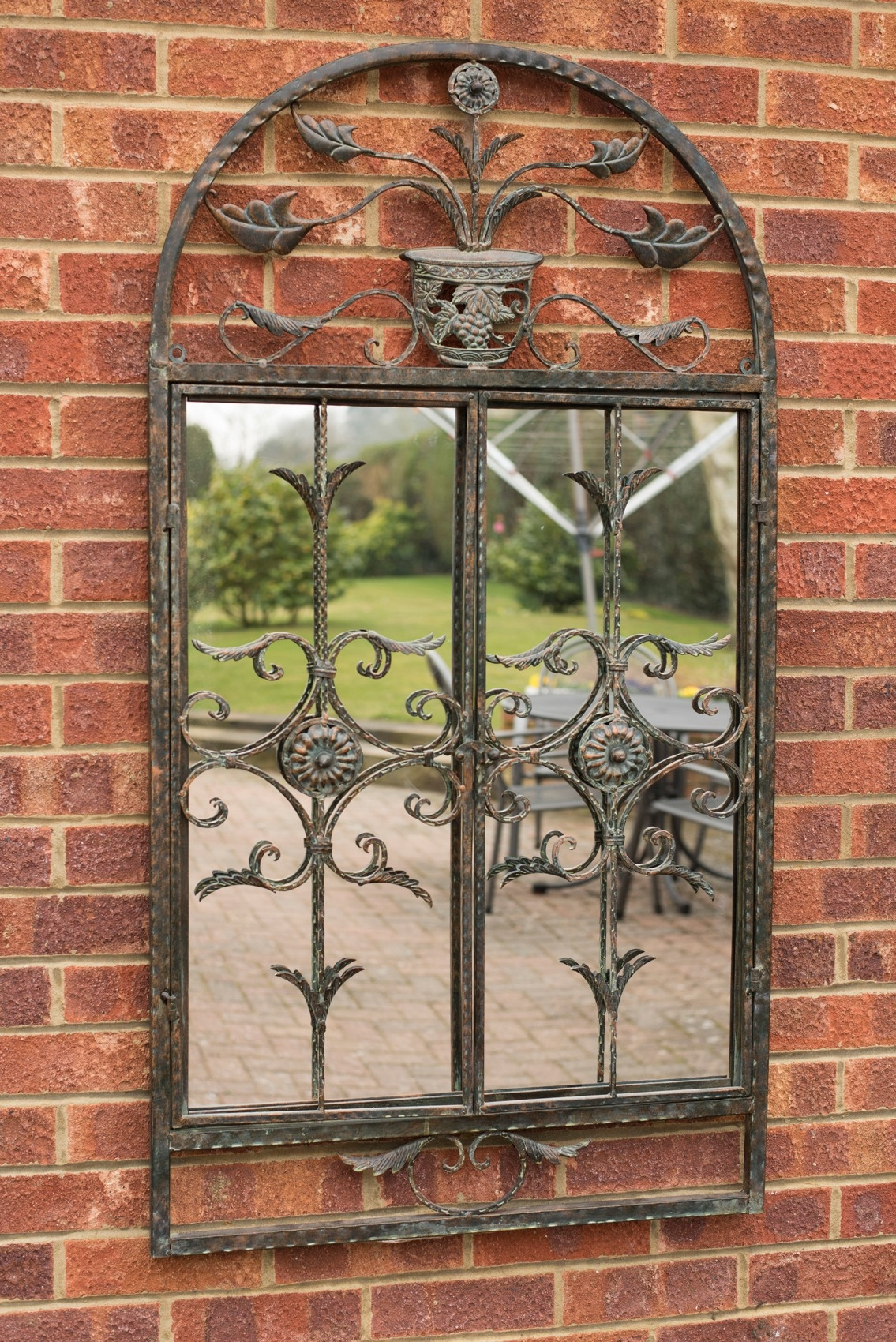 Large Rustic Scroll Garden Outdoor Wall Mirror 4ft3 X 2ft4 130cm Inside Large Outdoor Garden Mirrors (Image 8 of 15)