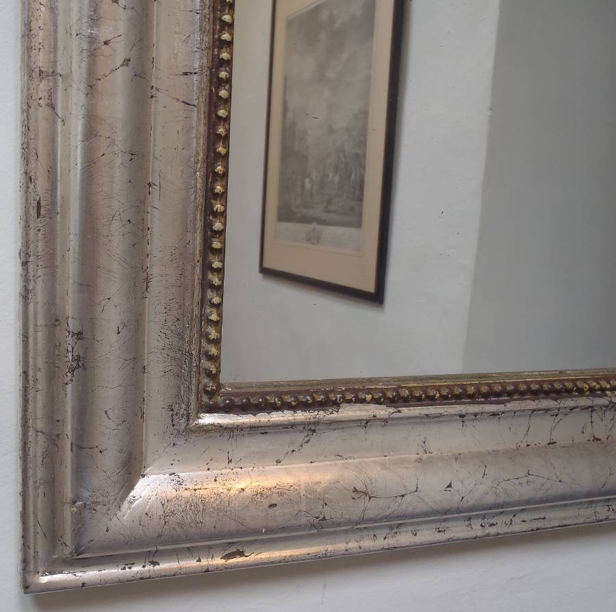 Large Silver Antique French Archtop Mirror In From On The Wall Inside Large Antique Silver Mirror (Image 10 of 15)