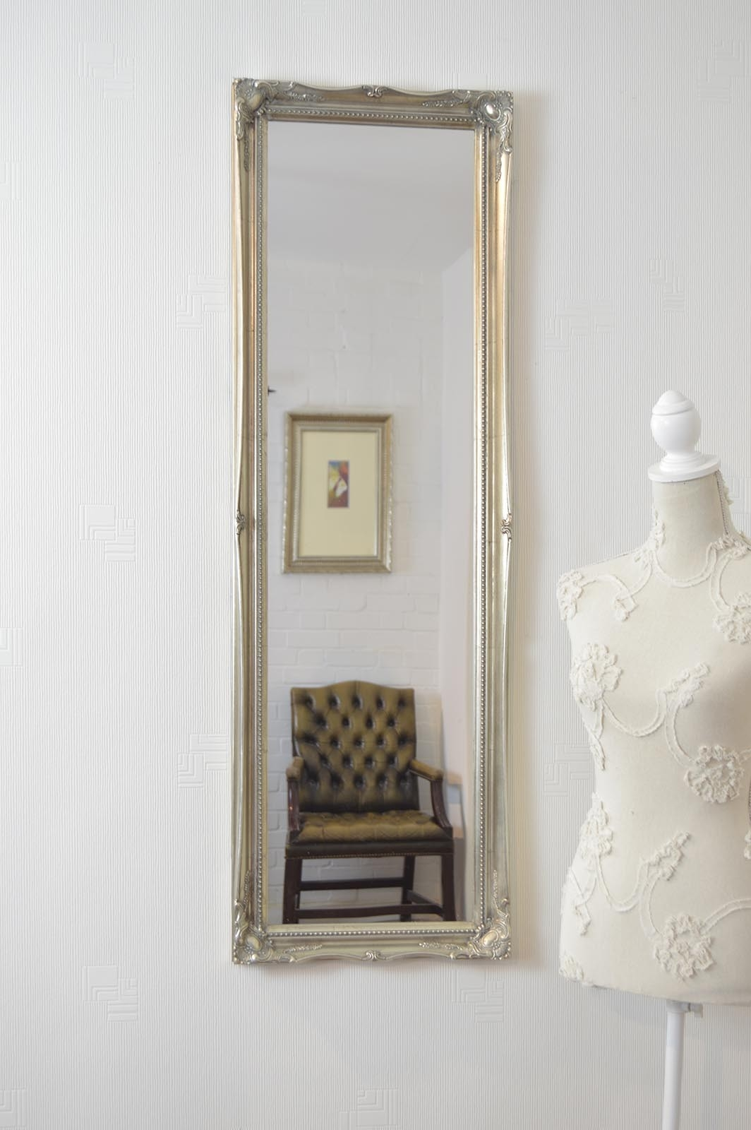 Large Silver Antique Style Dress Wall Mounted Mirror Rectangle Throughout Antique Style Mirrors Wall (Image 8 of 15)