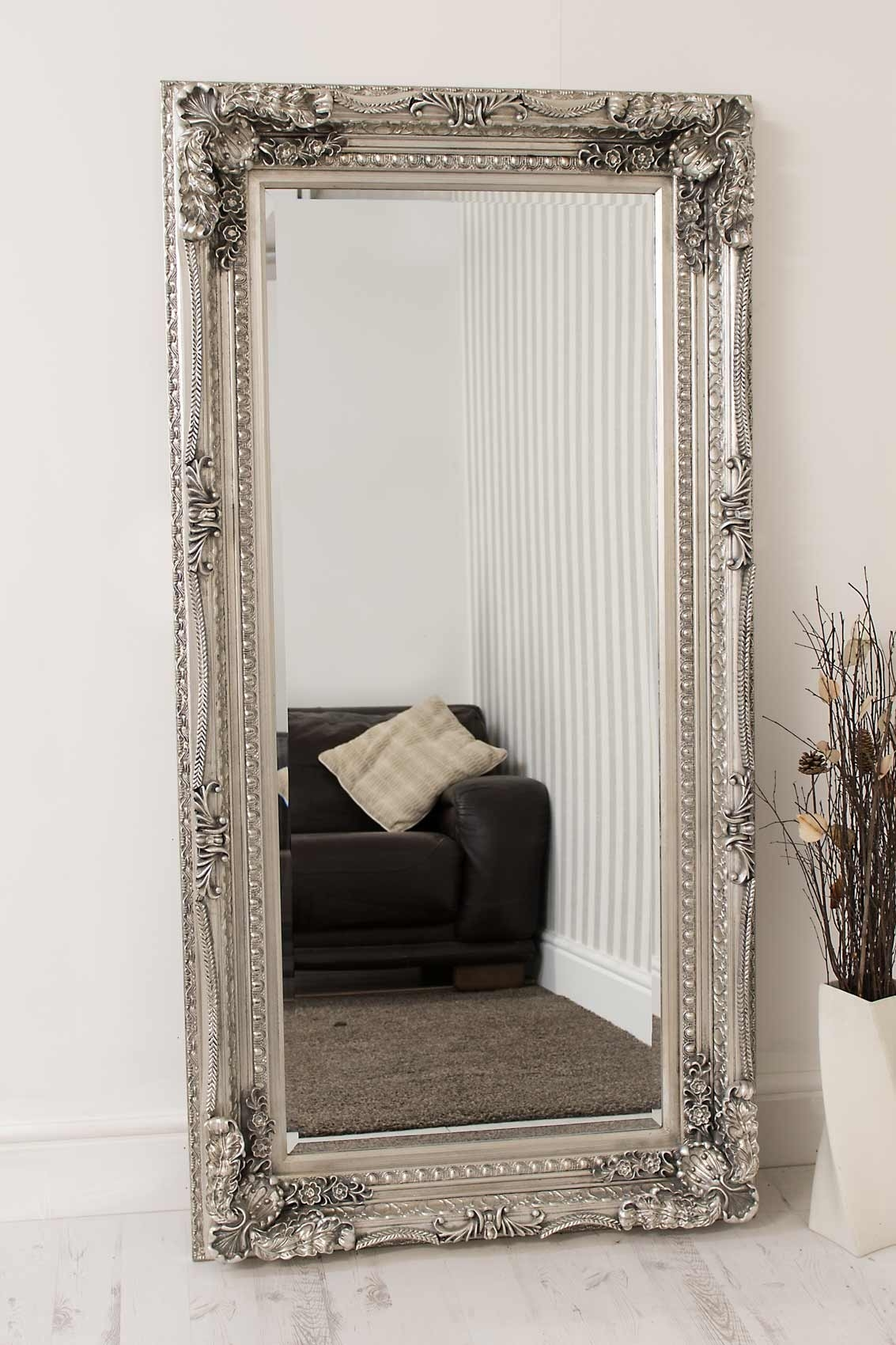 Large Silver Antique Style Wall Mirror New Rectangle 6ft X 3ft Pertaining To Large Silver Vintage Mirror (Image 8 of 15)