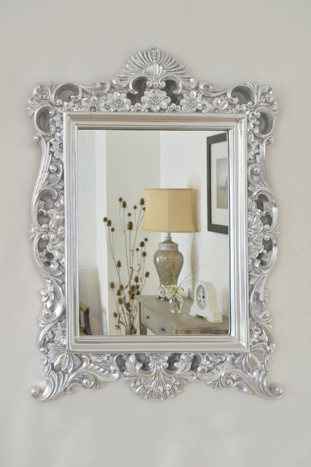 Large Silver Baroque Style Portrait Ornate Wall Mirror 2ft9 X 2ft1 Intended For Silver Ornate Mirror (Image 7 of 15)