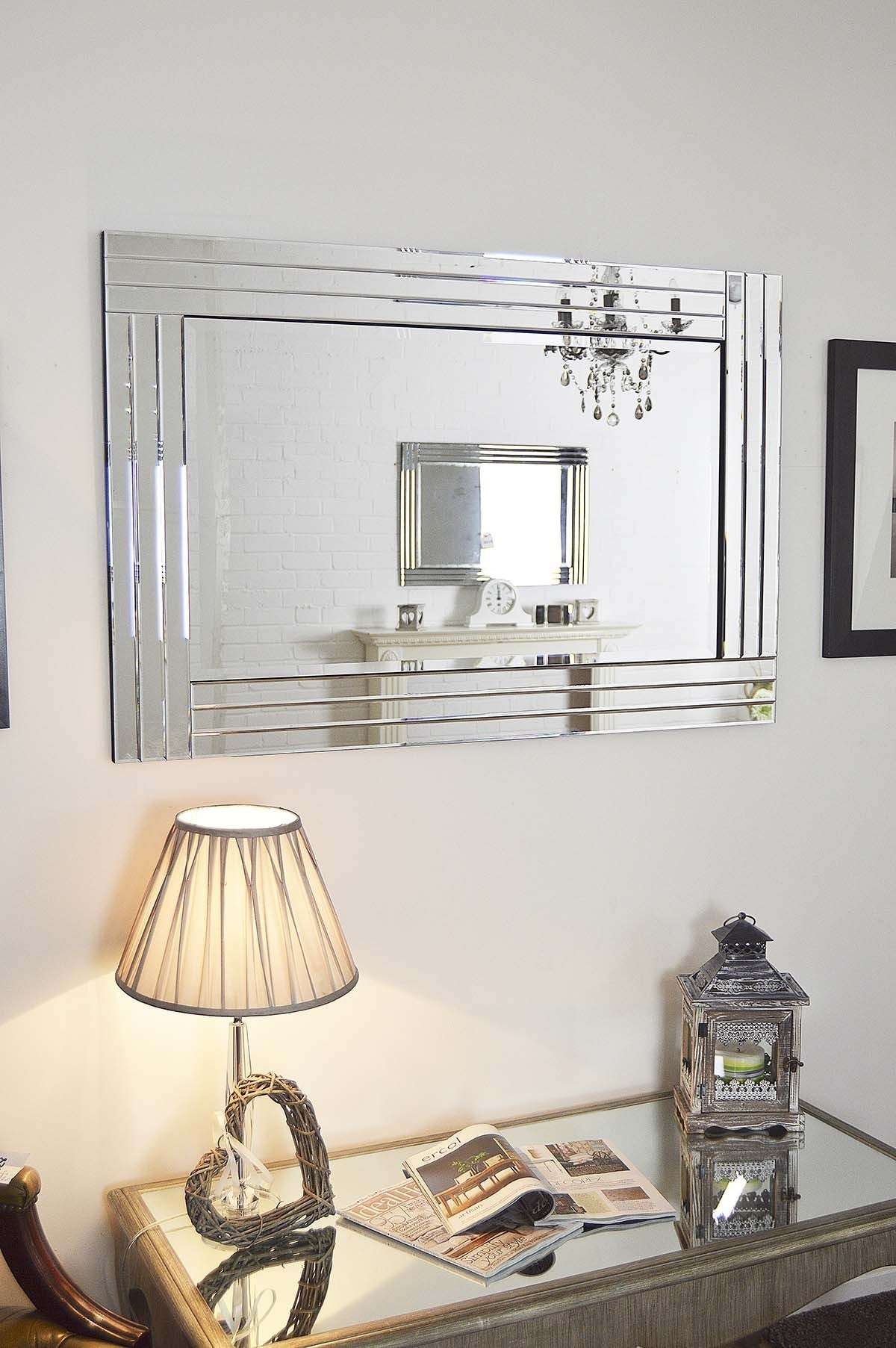 Large Silver Bevelled Modern All Glass Wall Mirror 3ft11 X 2ft8 Throughout Large Glass Bevelled Wall Mirror (Image 14 of 15)