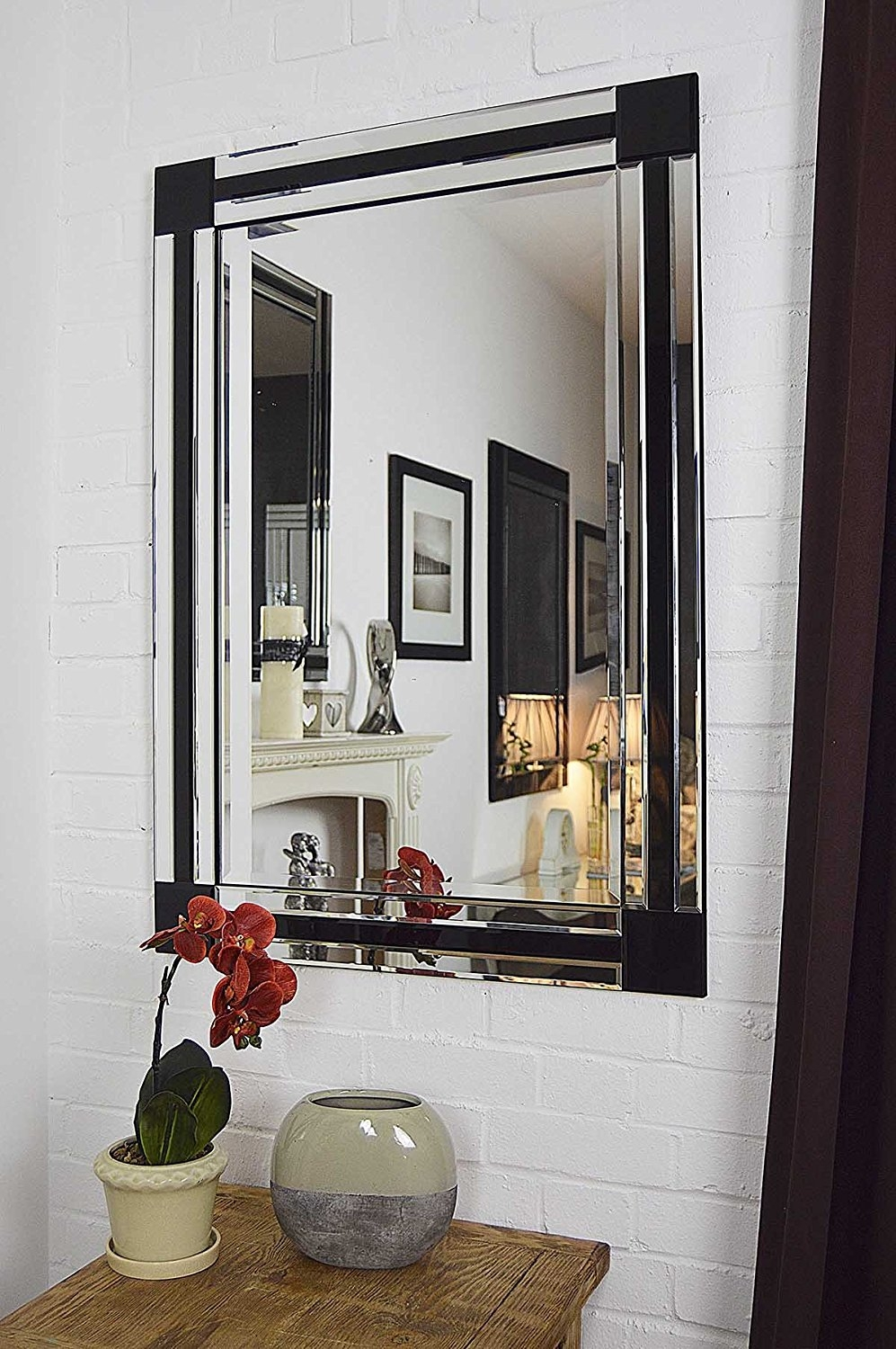 Large Silver Black Bevelled Triple Edge Venetian Wall Mirror Pertaining To Black Bevelled Mirror (Image 9 of 15)