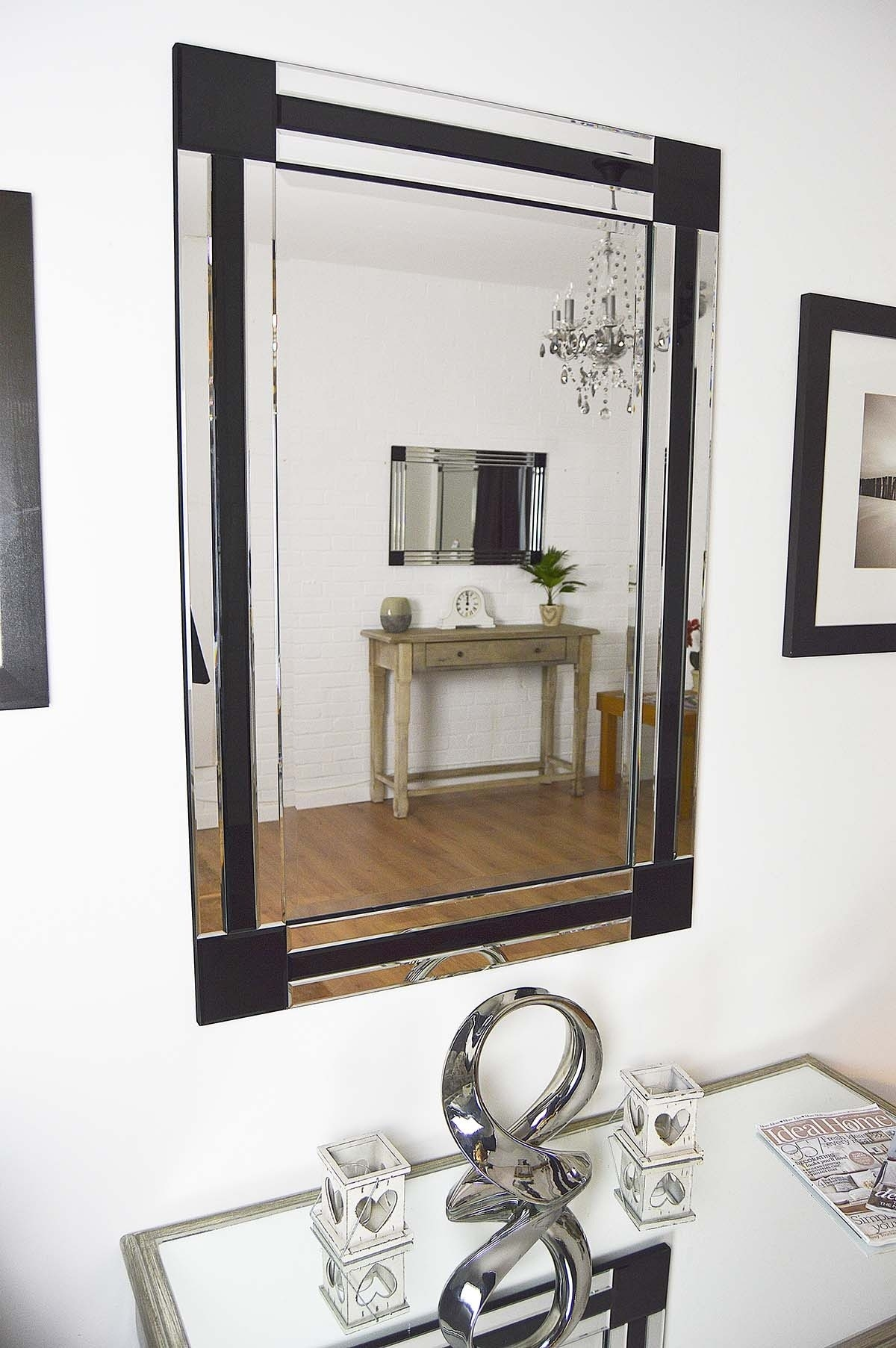 Large Silver Black Bevelled Triple Edge Venetian Wall Mirror Regarding Black Bevelled Mirror (Image 10 of 15)