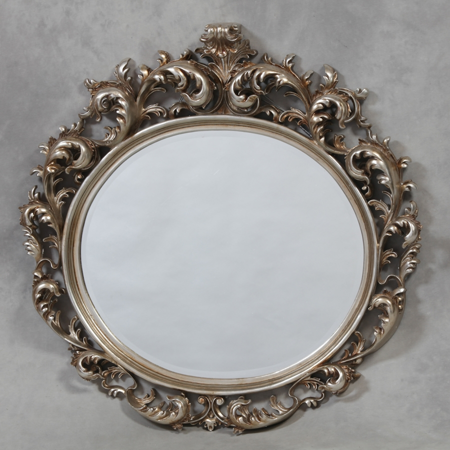 Large Silver French Oval Rococo Mirror Stylish Mirrors Pertaining To Rococo Mirror (Image 12 of 15)