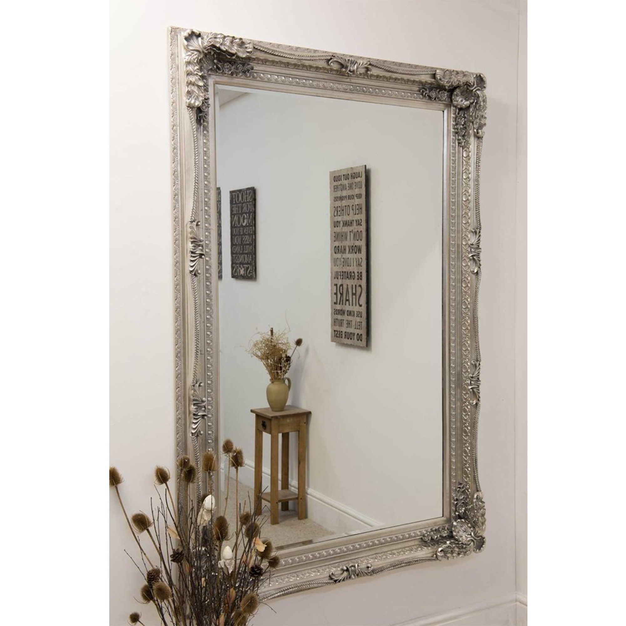 Large Silver Louis Antique French Style Mirror Decorative Mirrors Inside Large French Style Mirror (Image 10 of 15)