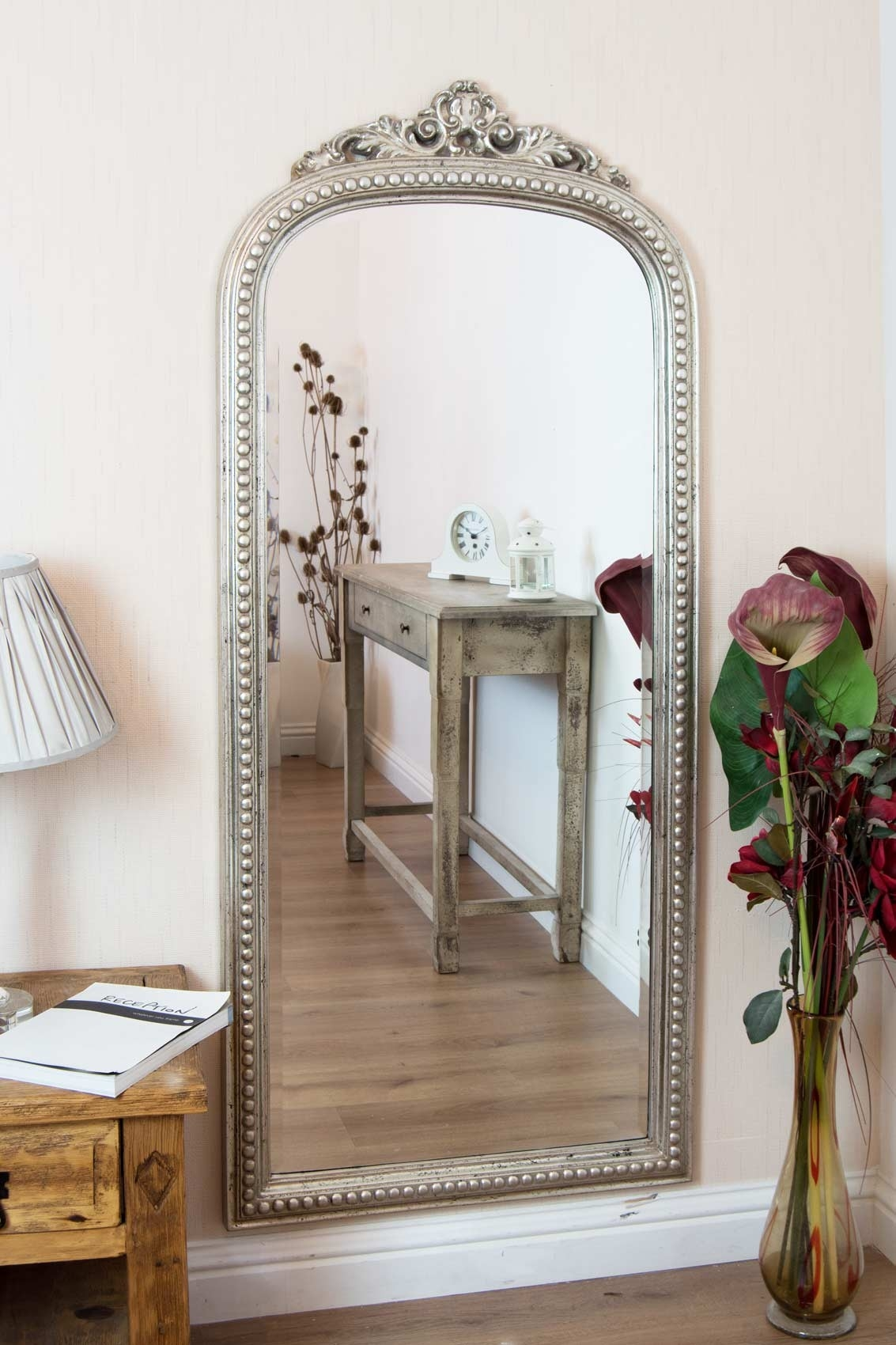 Large Silver Ornate Antique Arched Top Shab Chic Wall Mirror Inside Shabby Chic Large Mirrors (View 9 of 15)