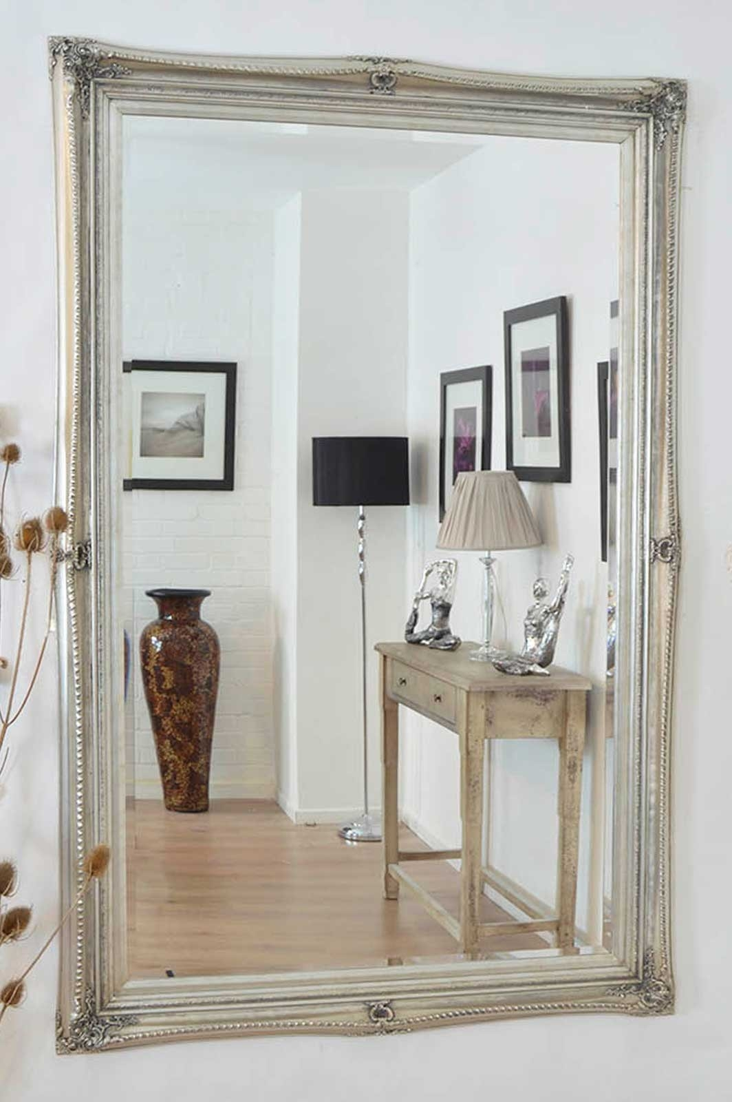 Large Silver Ornate Antique Shab Chic Wall Mirror 5ft9 X 3ft9 Throughout Mirrors Shabby Chic (Image 6 of 15)