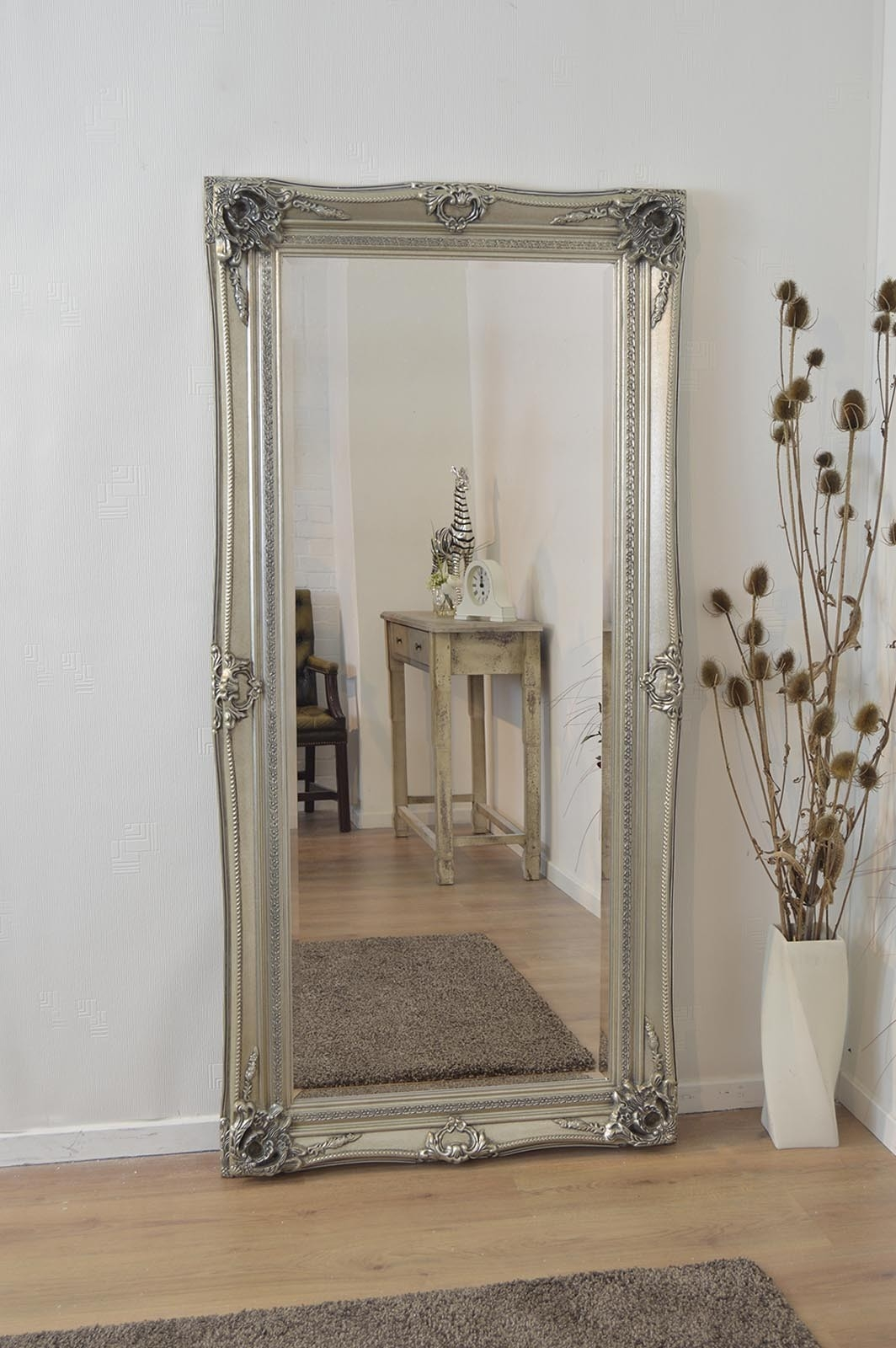 Large Silver Ornate Antique Shab Chic Wall Mirror 6ft X 3ft Throughout White Shabby Chic Wall Mirror (Image 4 of 15)