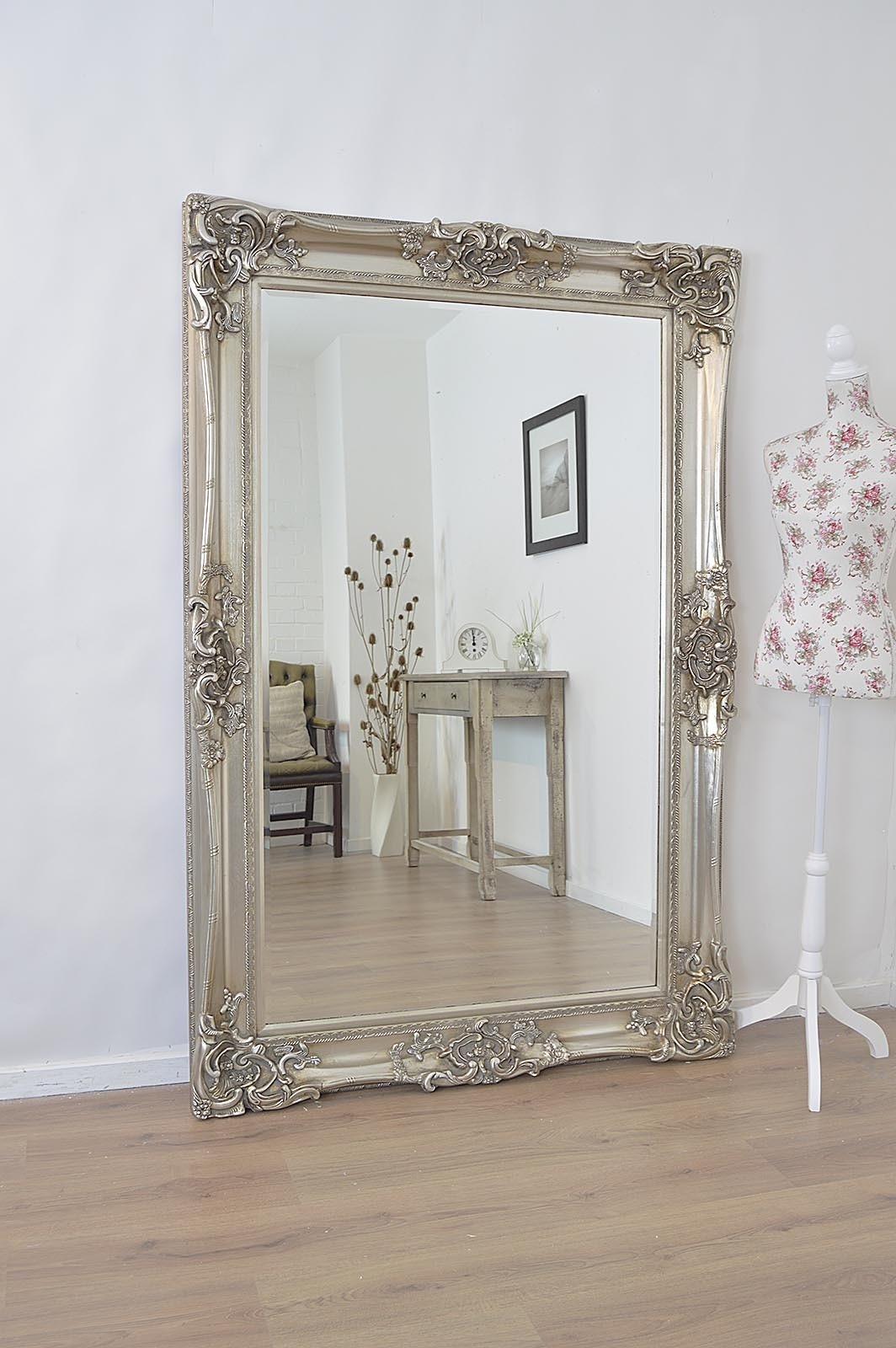 Large Silver Ornate Huge Antique Design Big Wall Mirror 6ft X 4ft Regarding Big White Mirrors (Image 10 of 15)