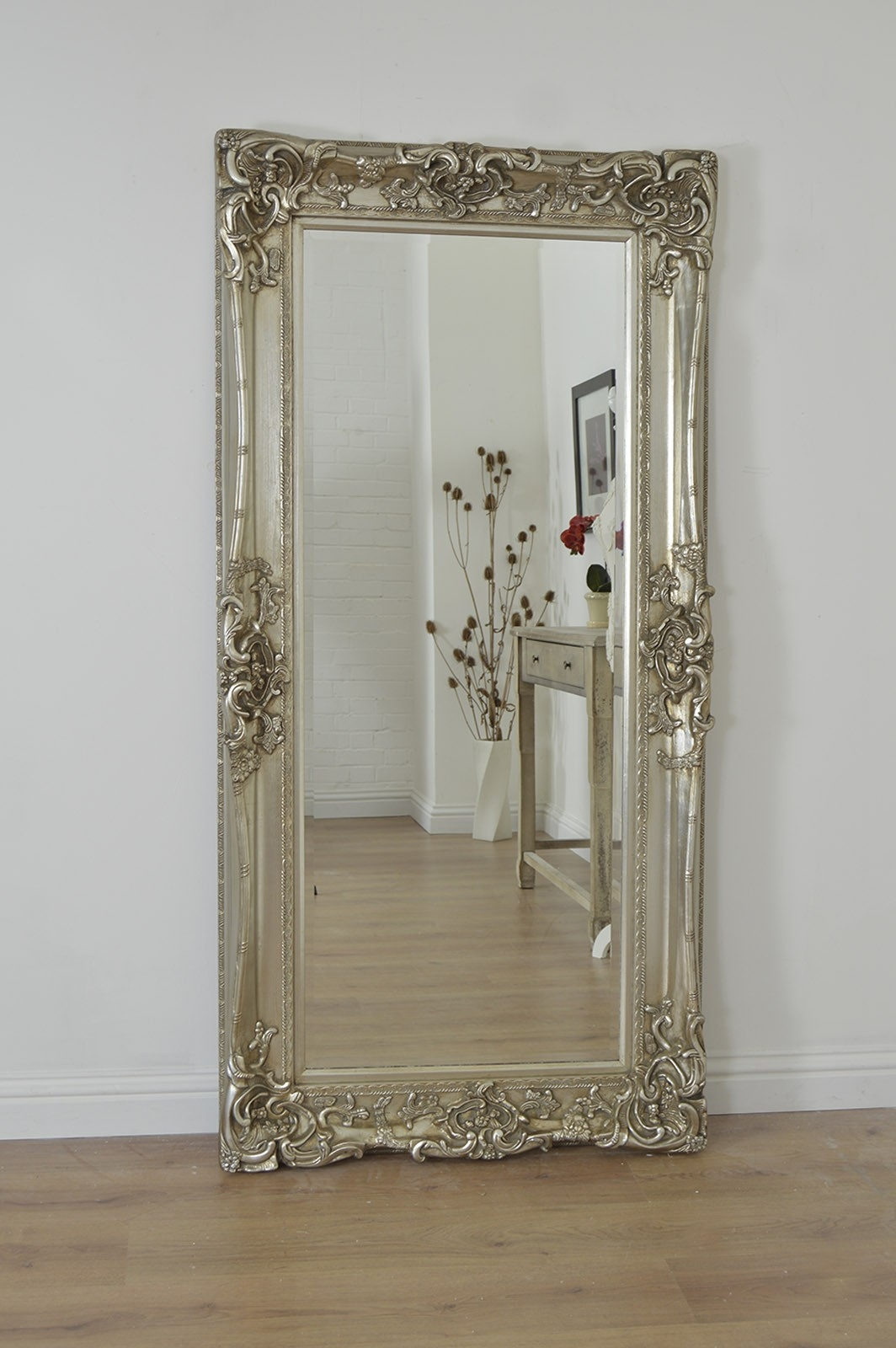 Large Silver Shab Chic Design Ornate Wall Mirror New 6ft X 3ft With Shabby Chic Large Wall Mirrors (View 6 of 15)