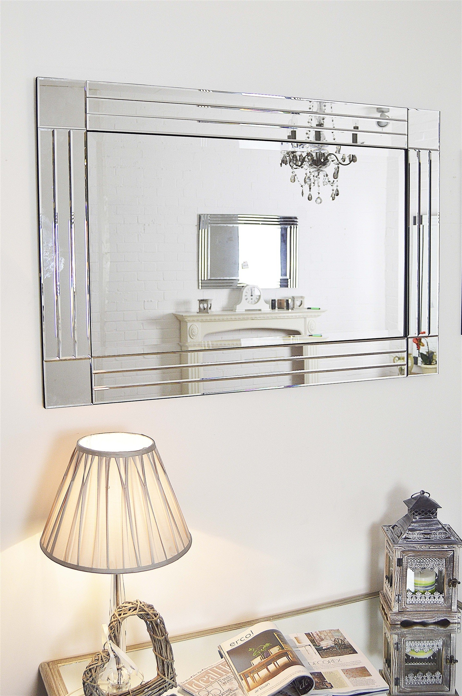 Large Silver Triple Bevelled Edge Venetian Wall Mirror 3ft11 X With Regard To Large Bevelled Edge Mirror (Image 8 of 15)