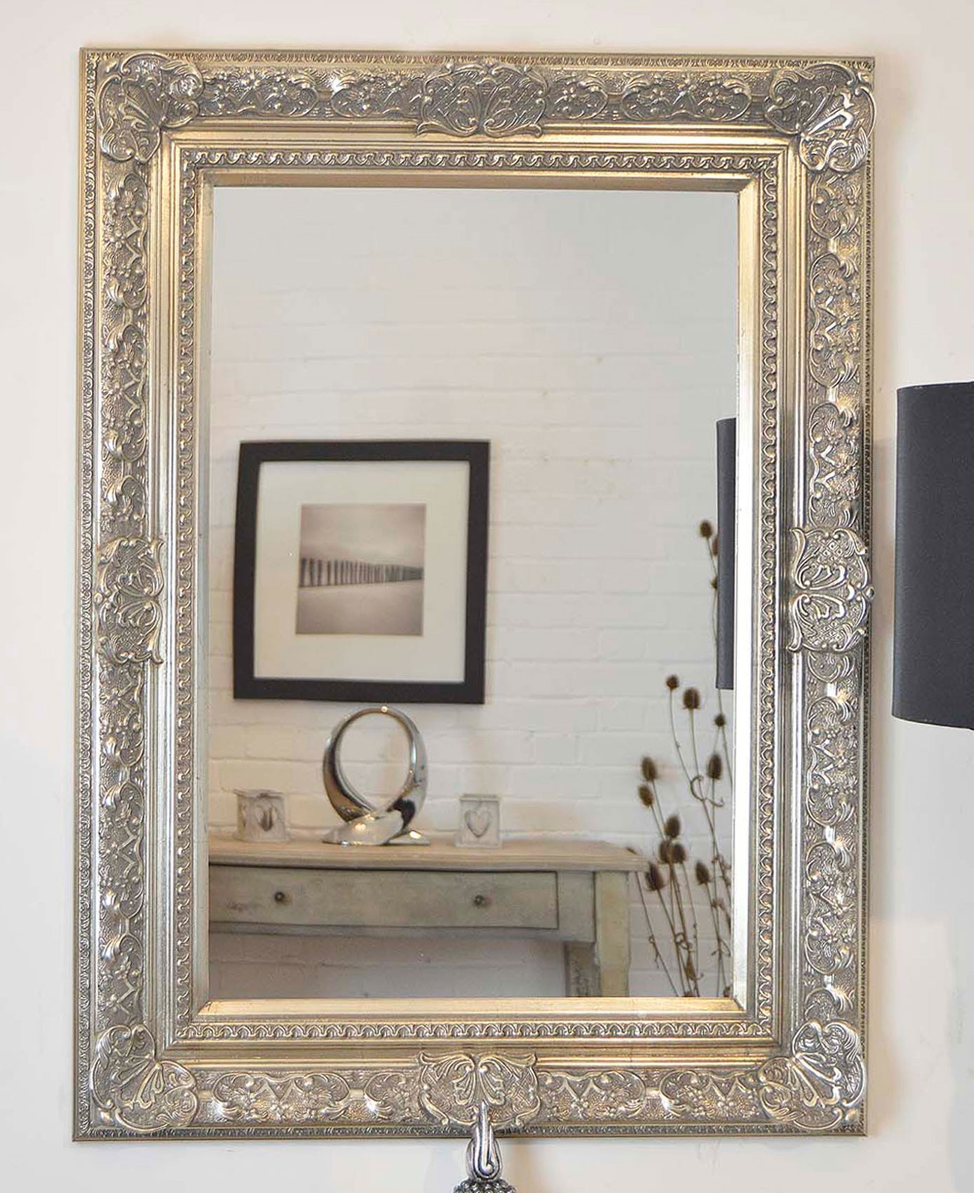 Large Silver Wall Mirror Wall Shelves Throughout Large Ornate Silver Mirror (Image 10 of 15)