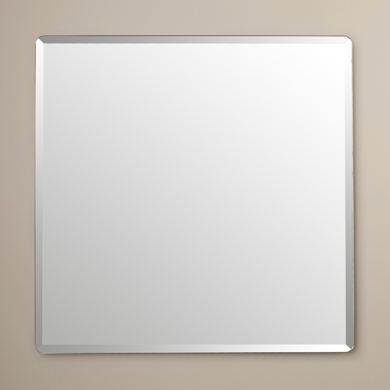 Large Square Frameless Bevelled Edge Silver Glass Vanity Bathroom Within Bevelled Glass Mirror (Image 11 of 15)