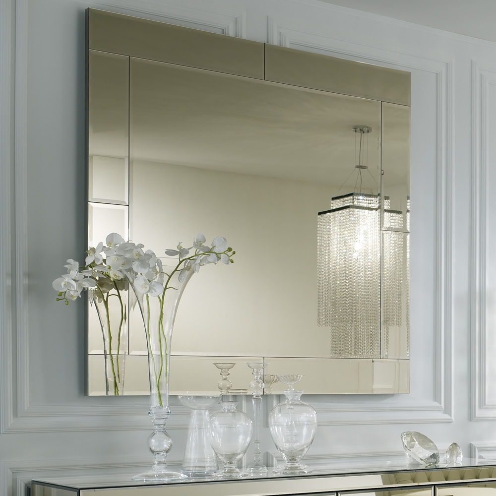 Large Square Smoked Glass Venetian Mirror Juliettes Interiors For Square Venetian Mirror (Image 10 of 15)