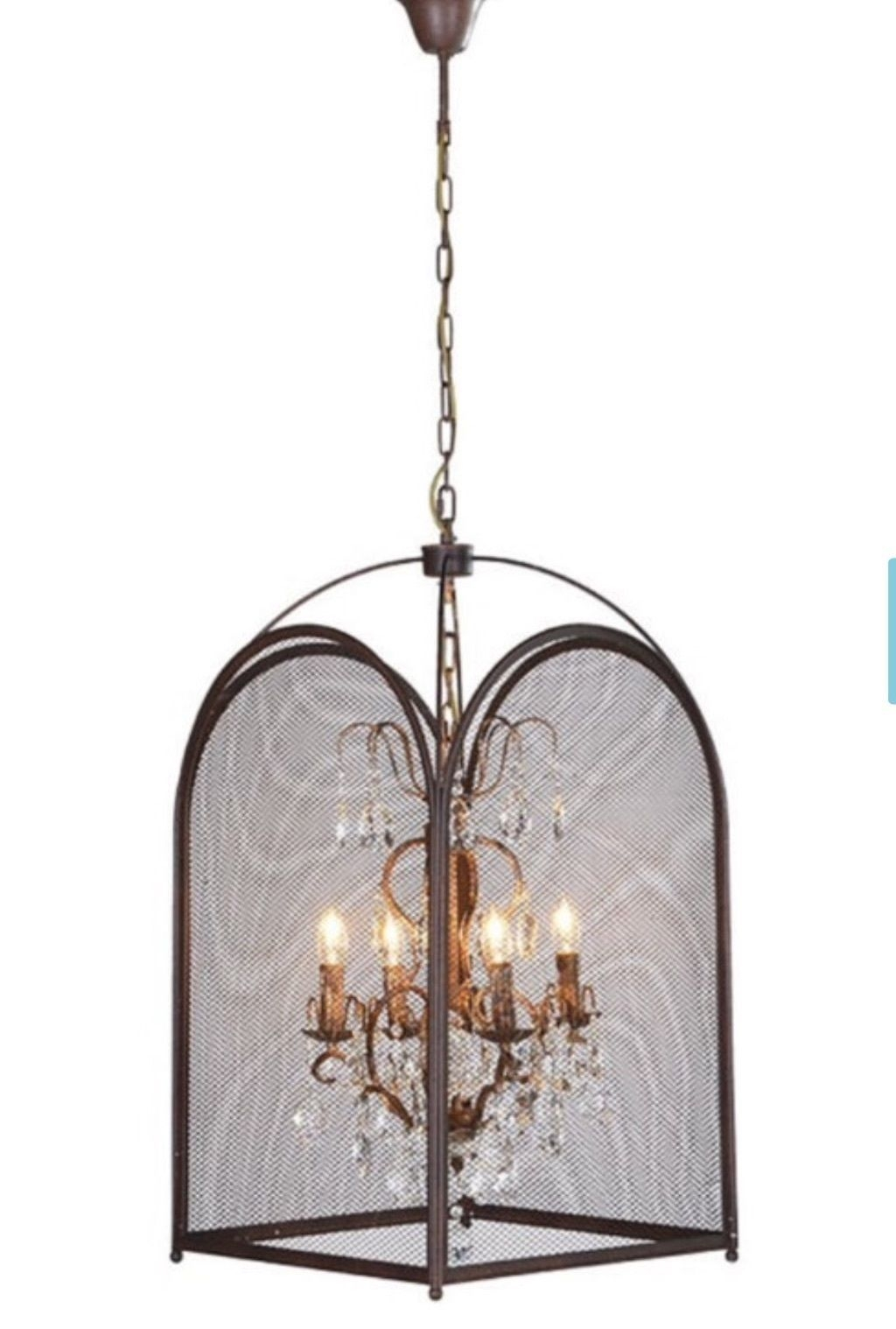 Large Statement Birdcage Vintage Industrial Shab Chic Caged Pertaining To Caged Chandelier (Image 9 of 15)