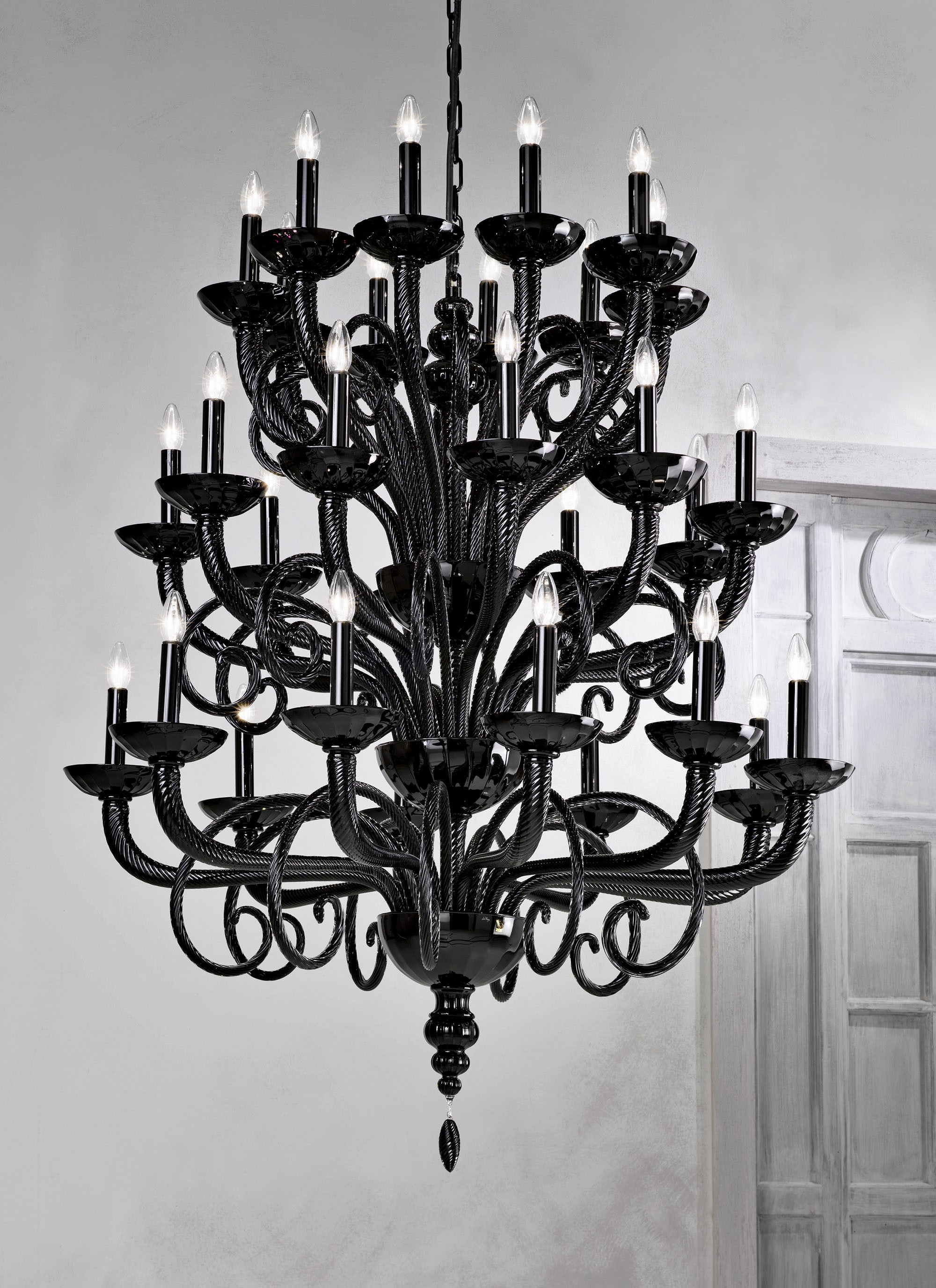 Large Traditional Black Grand Murano Chandelier L6011k30 Murano Pertaining To Large Black Chandelier (Image 13 of 15)